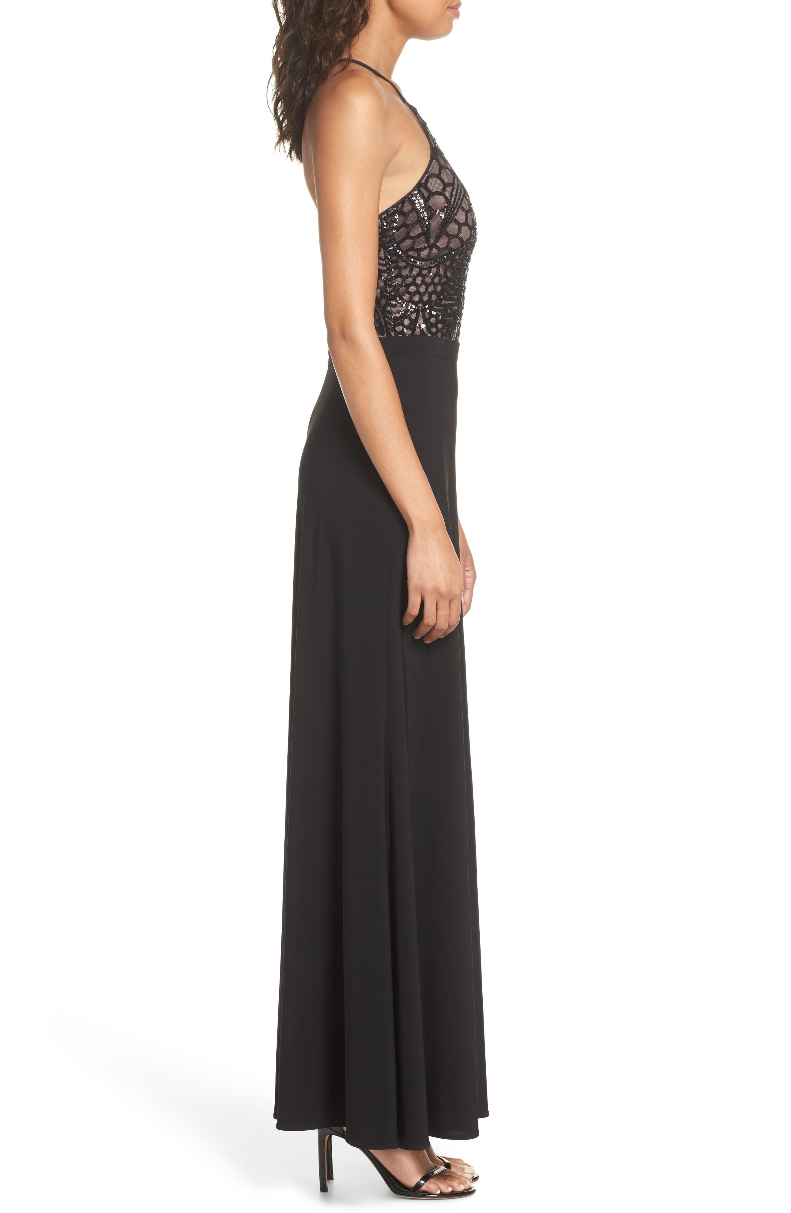 MORGAN & CO.,                             Sequin Halter Gown,                             Alternate thumbnail 3, color,                             BLACK/ NUDE