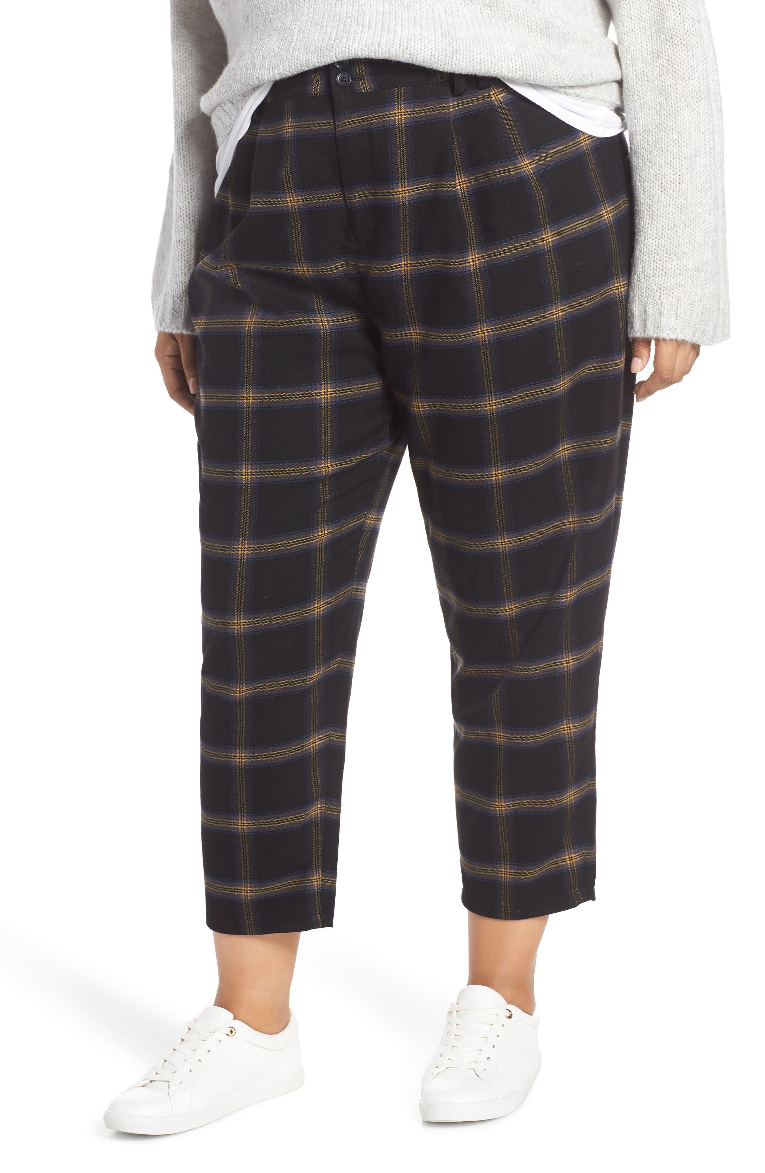 Plaid Menswear Crop Pants, Main, color, BLACK SHANNON PLAID