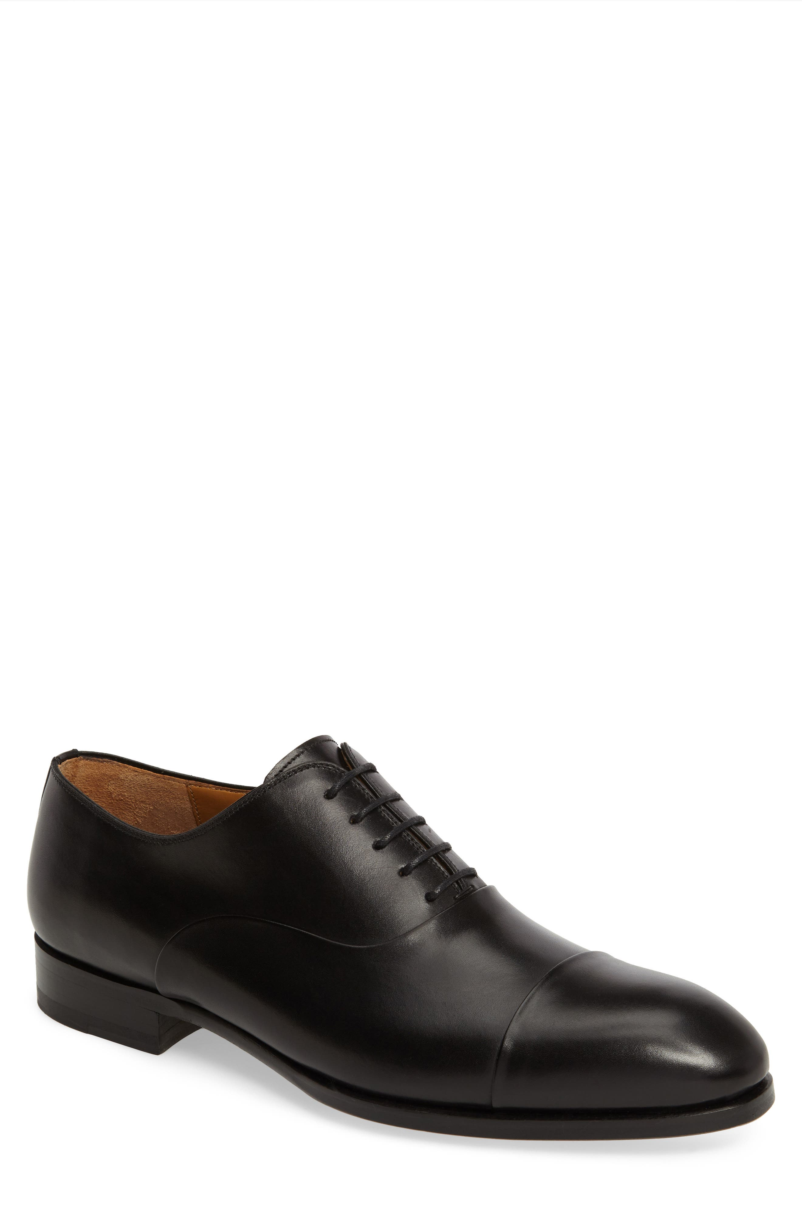 Golay Cap Toe Oxford,                         Main,                         color, BLACK LEATHER
