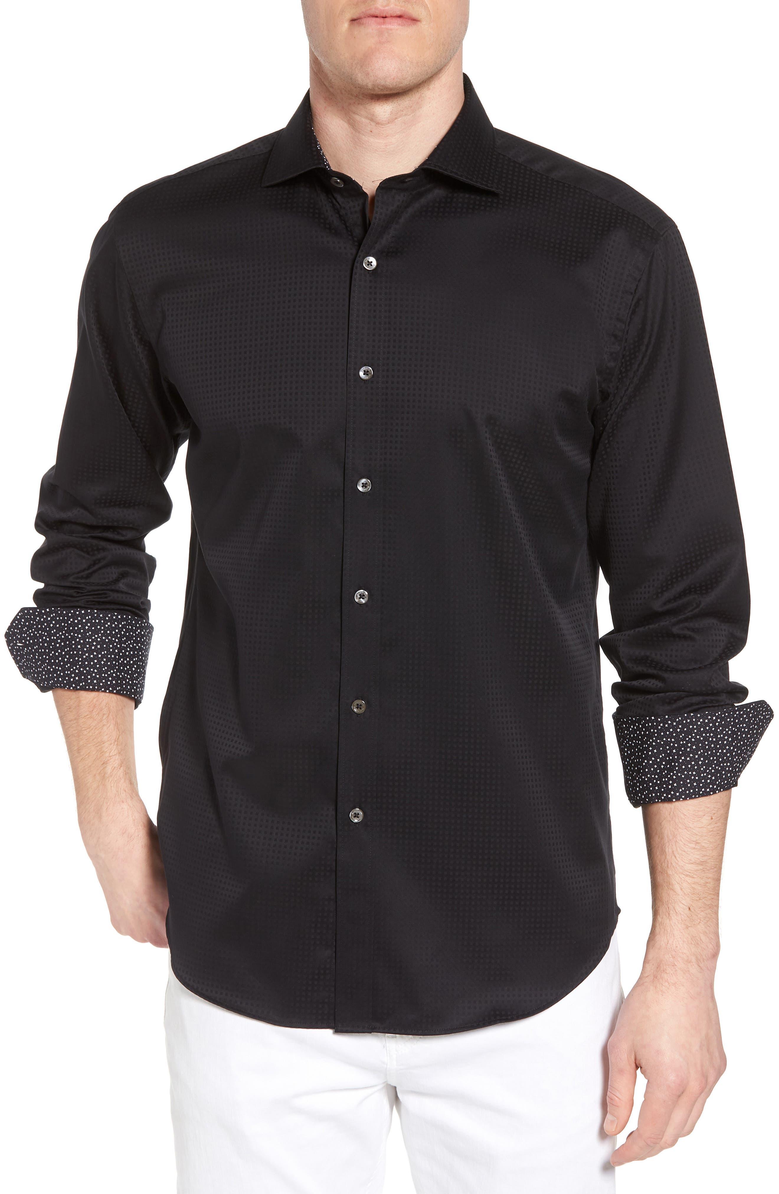 Shaped Fit Check Sport Shirt,                             Main thumbnail 1, color,                             001