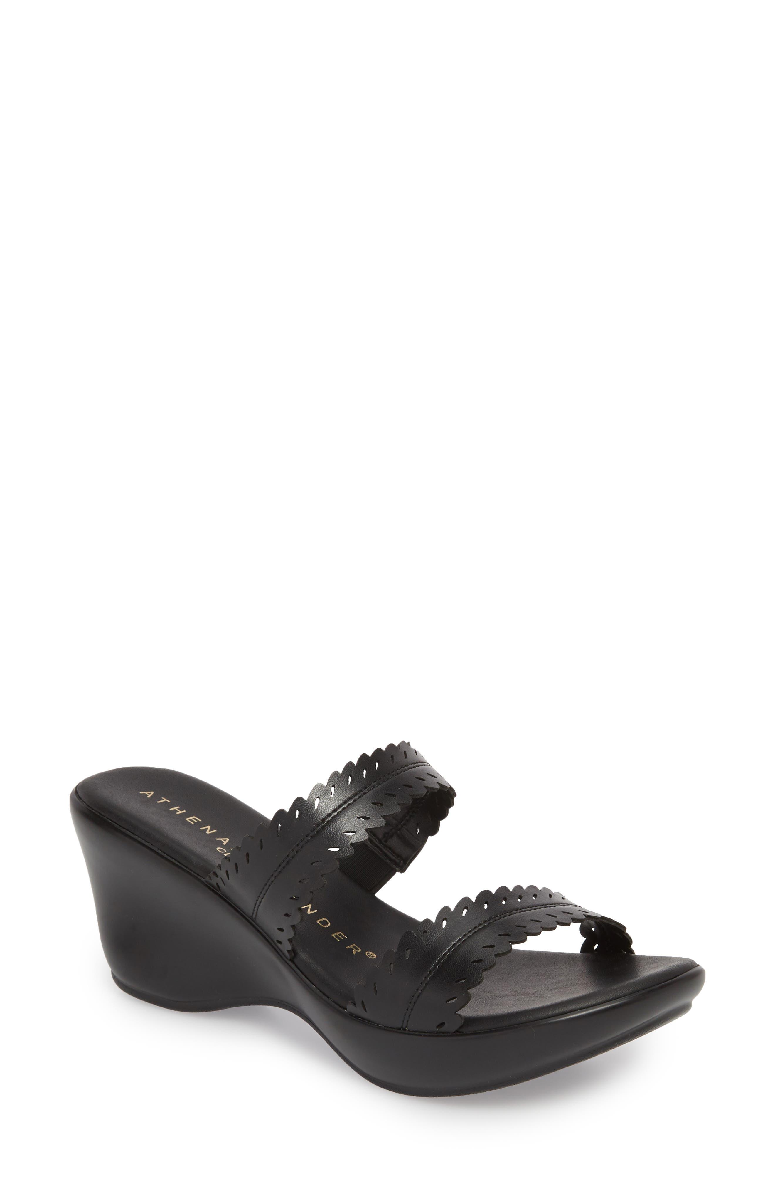 Athena Alexander Pouty Wedge Sandal- Black