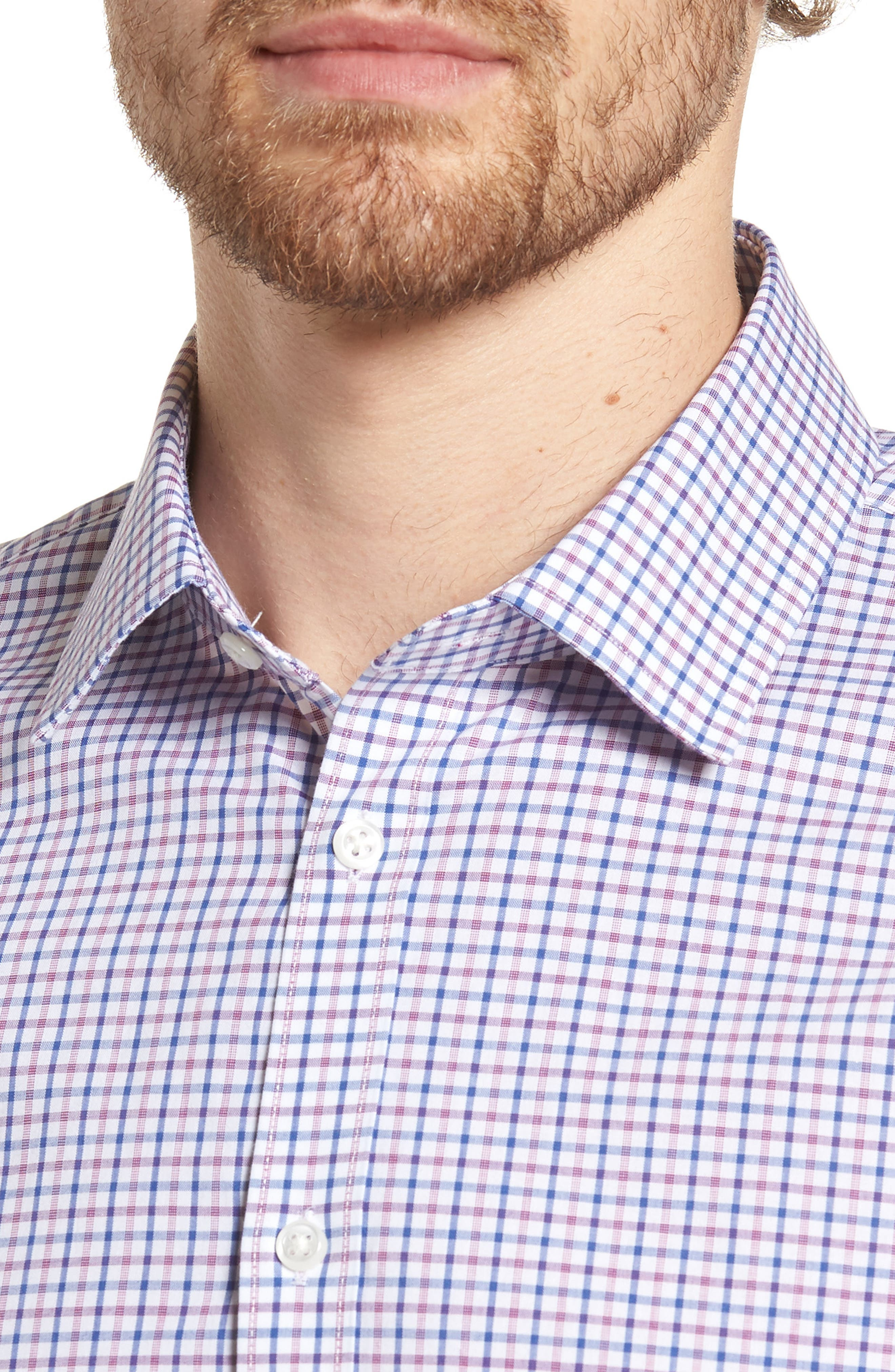 Extra Trim Fit Check Dress Shirt,                             Alternate thumbnail 8, color,