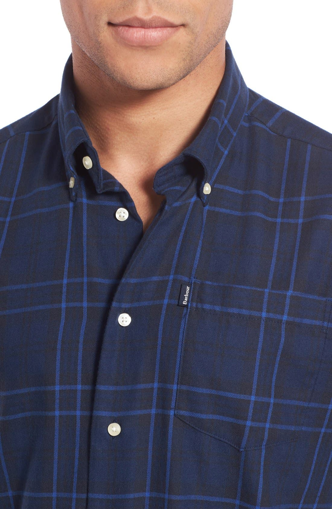Seth Tailored Fit Plaid Sport Shirt,                             Alternate thumbnail 8, color,