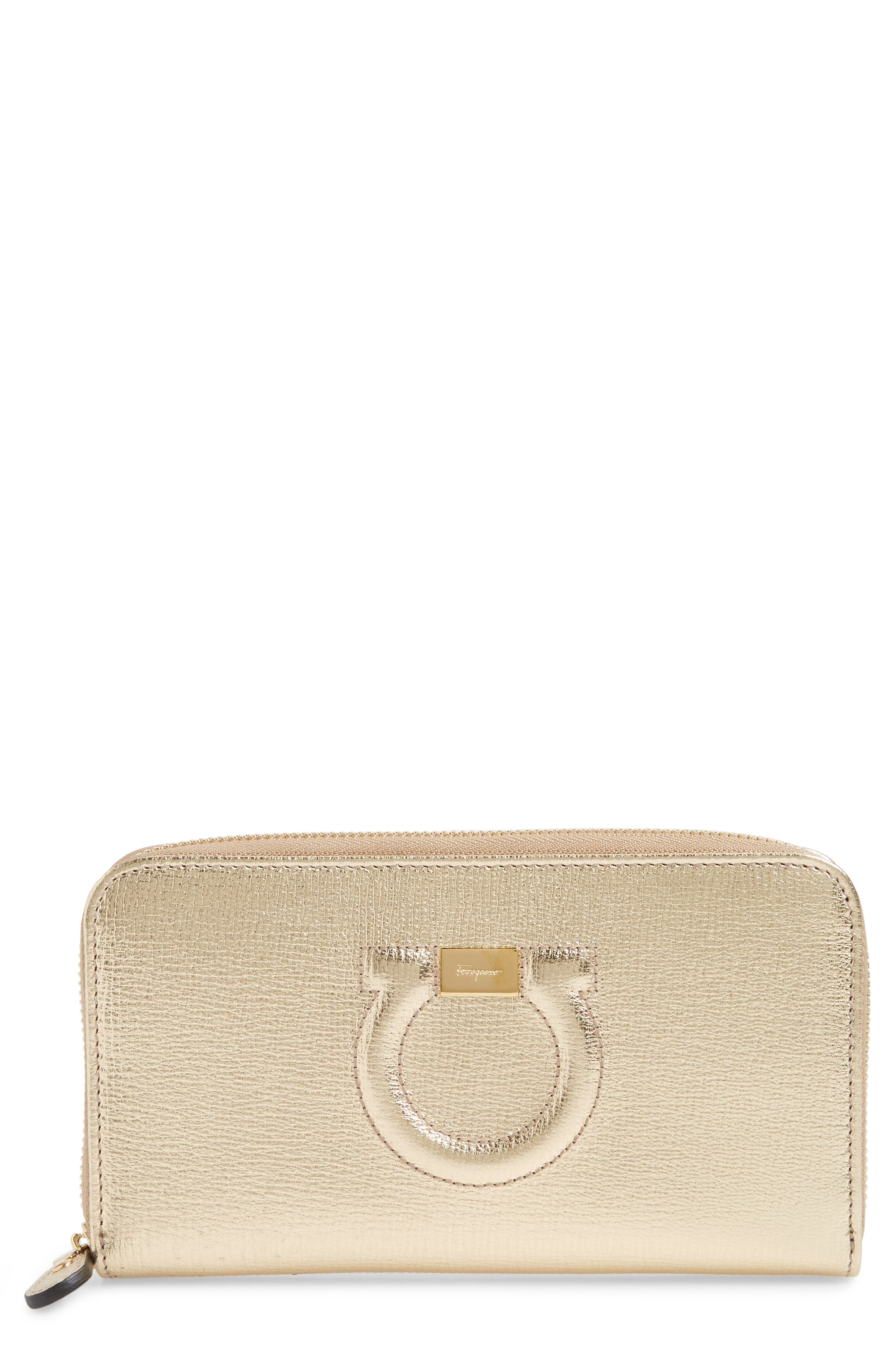 Quilted Gancio Leather Zip Around Wallet,                         Main,                         color, GOLD METALLIC LEATHER