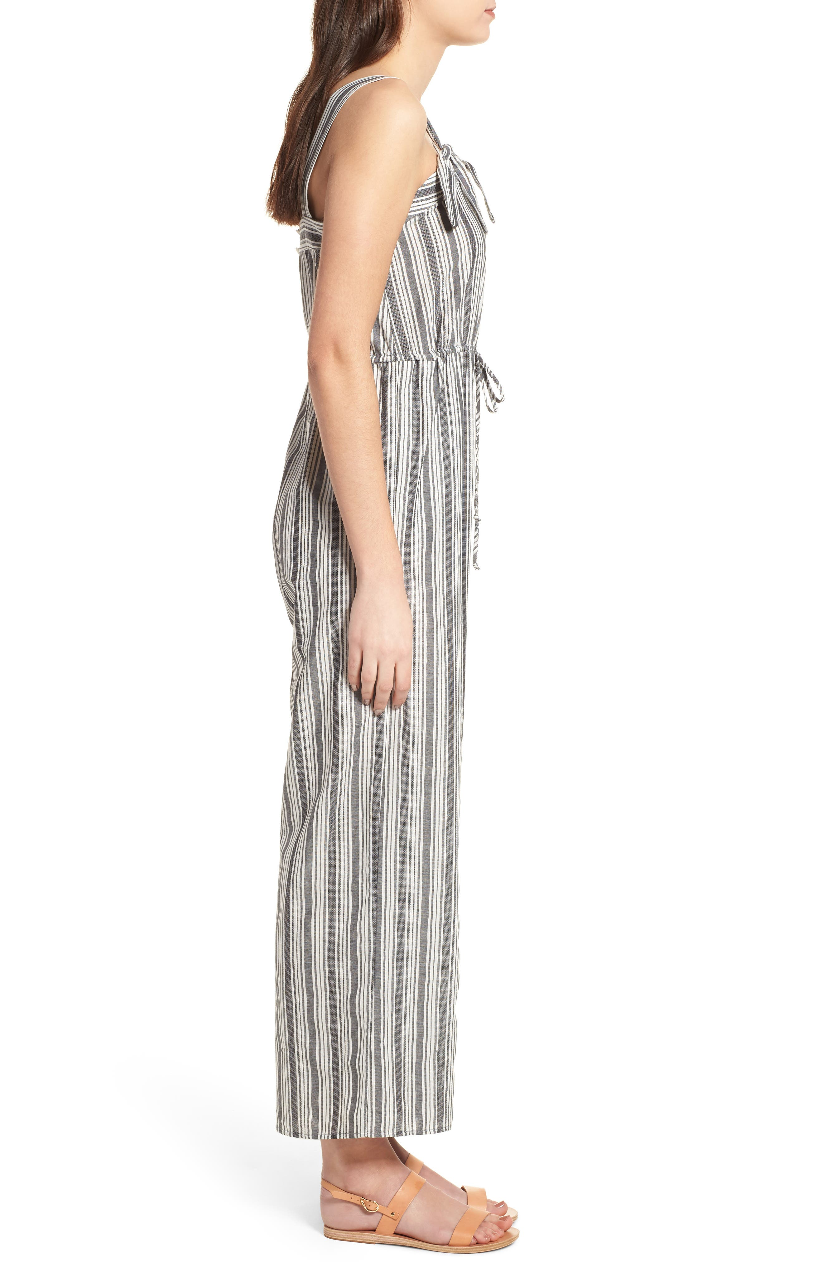 Stripe Knot Strap Jumpsuit,                             Alternate thumbnail 3, color,                             WHITE SUN STRIPE
