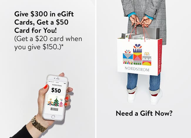 Give $300 in eGift Cards and get a $50 card for you! Get $20 when you give $150.