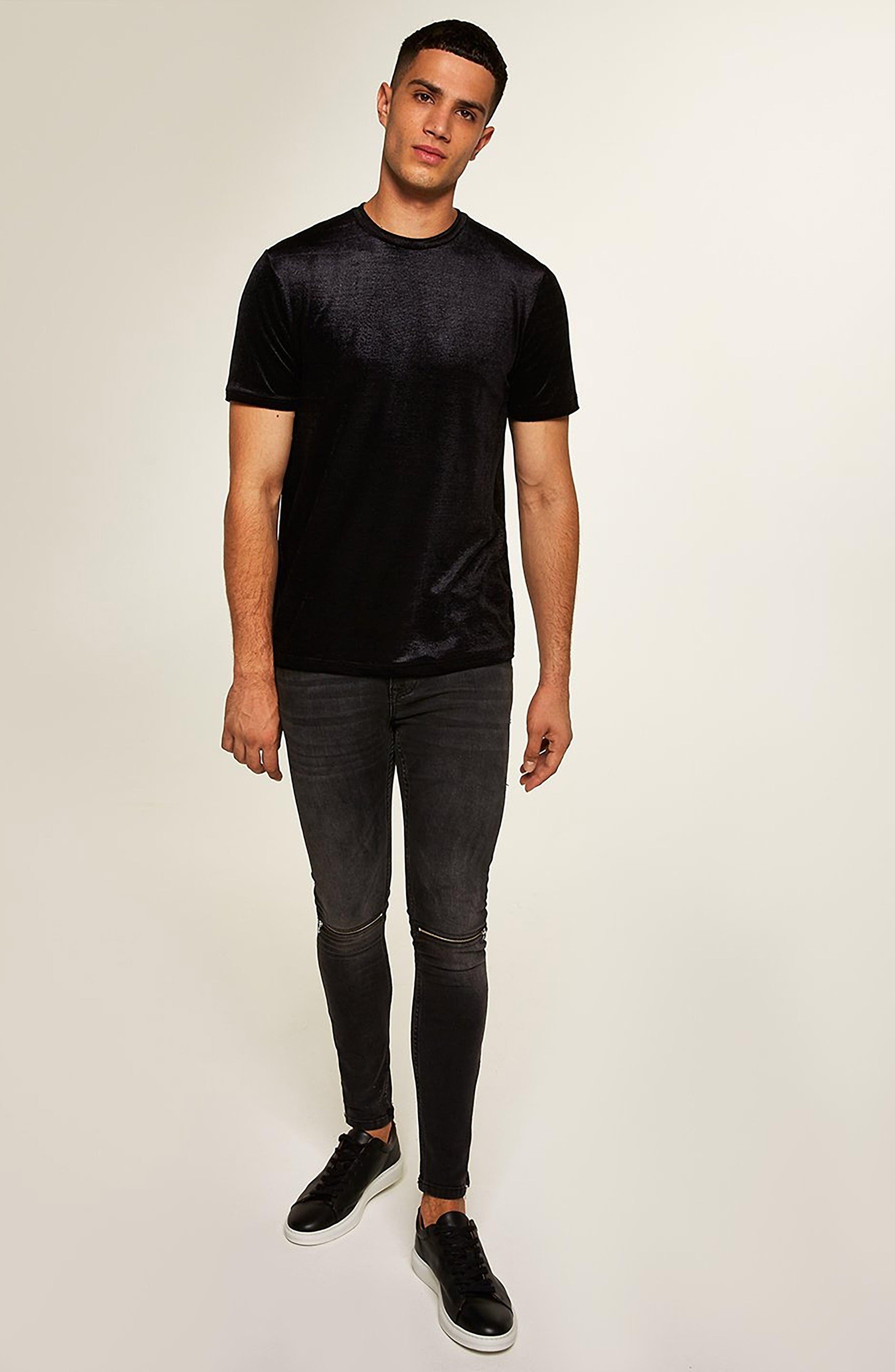 Topshop Velour Classic Fit T-Shirt,                             Alternate thumbnail 5, color,                             BLACK