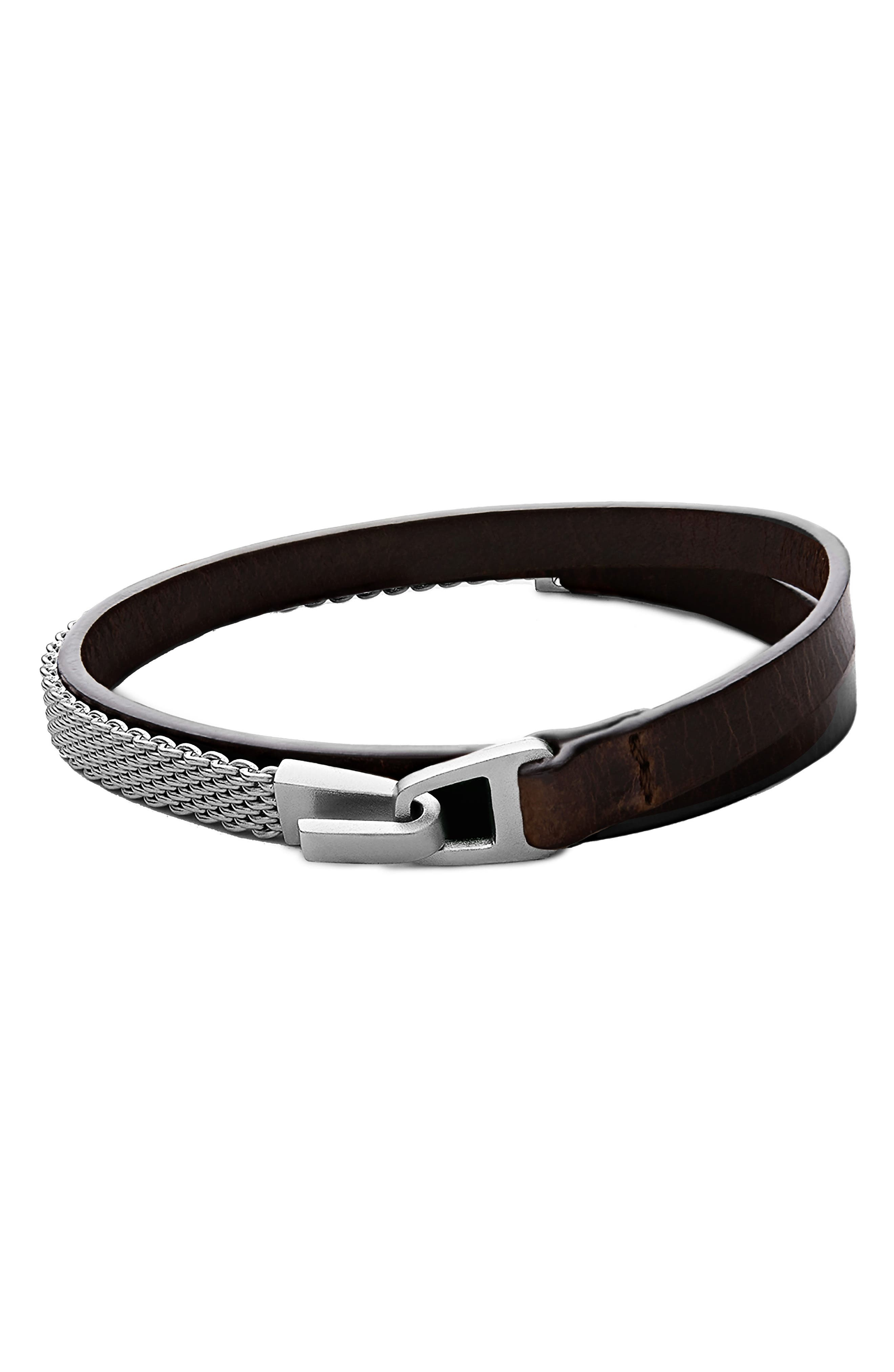 Moore Leather Bracelet,                             Main thumbnail 1, color,                             203