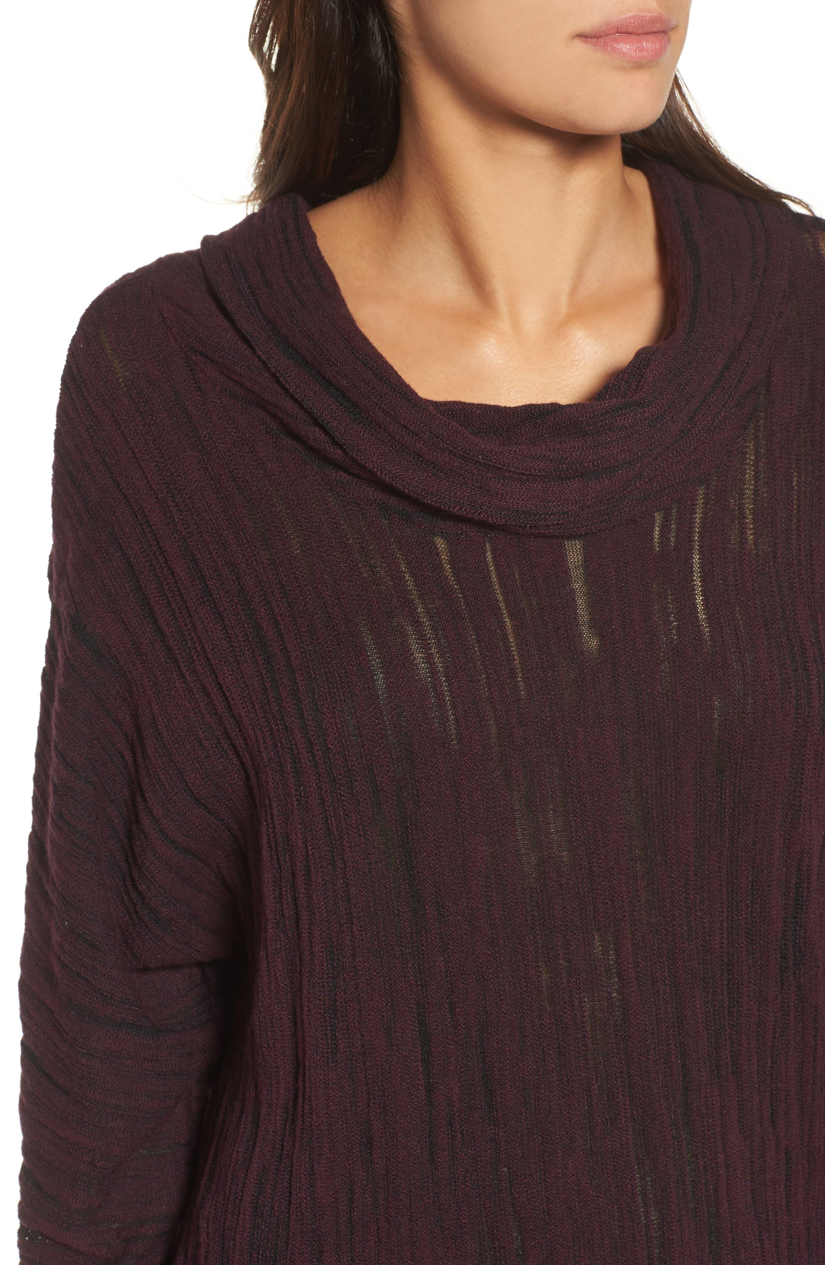 Cowl Neck Open Stitch Sweater,                             Alternate thumbnail 4, color,                             WINE