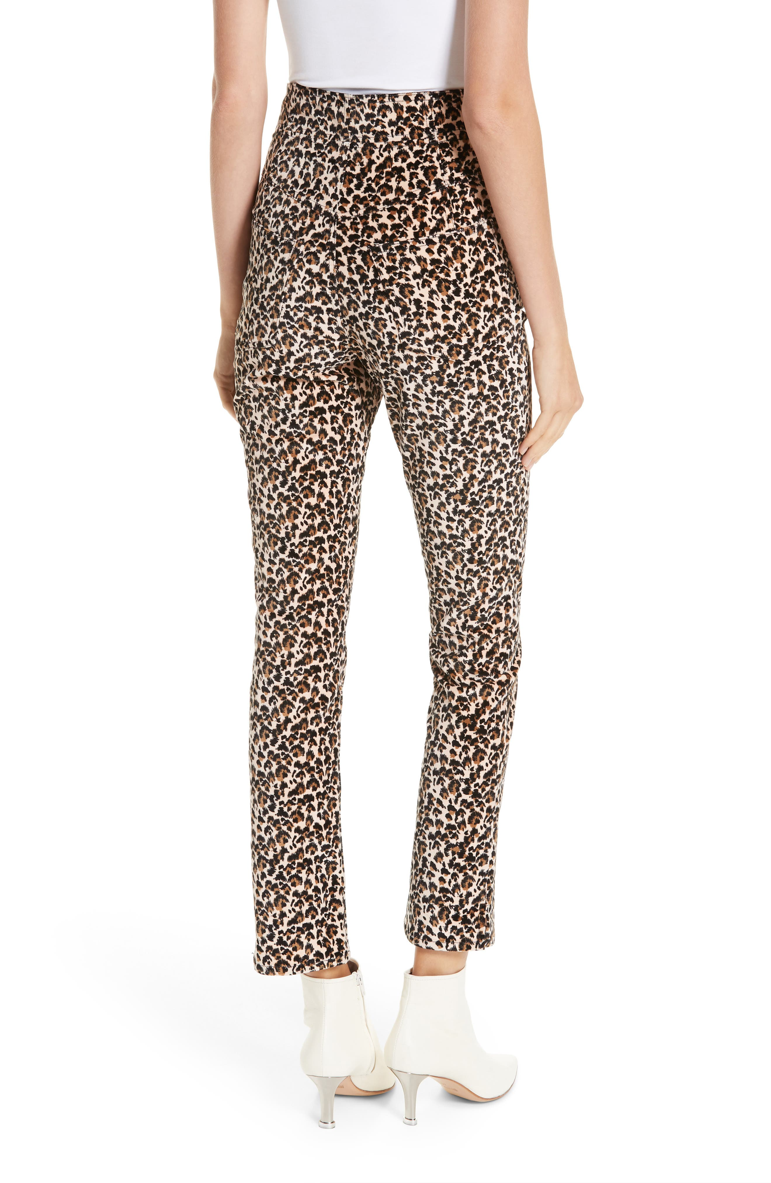 Leopard Print Stretch Velvet Pants,                             Alternate thumbnail 2, color,                             250