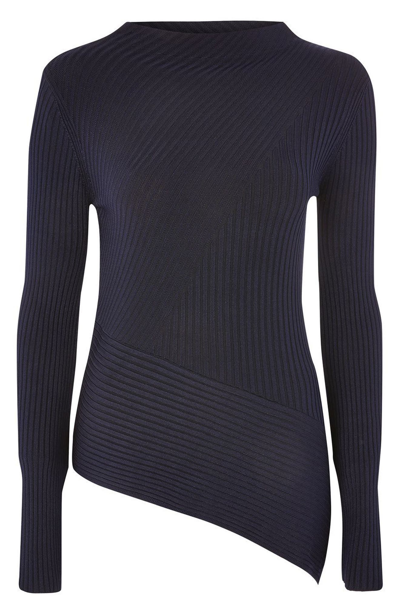 Asymmetrical Ribbed Sweater,                             Alternate thumbnail 9, color,