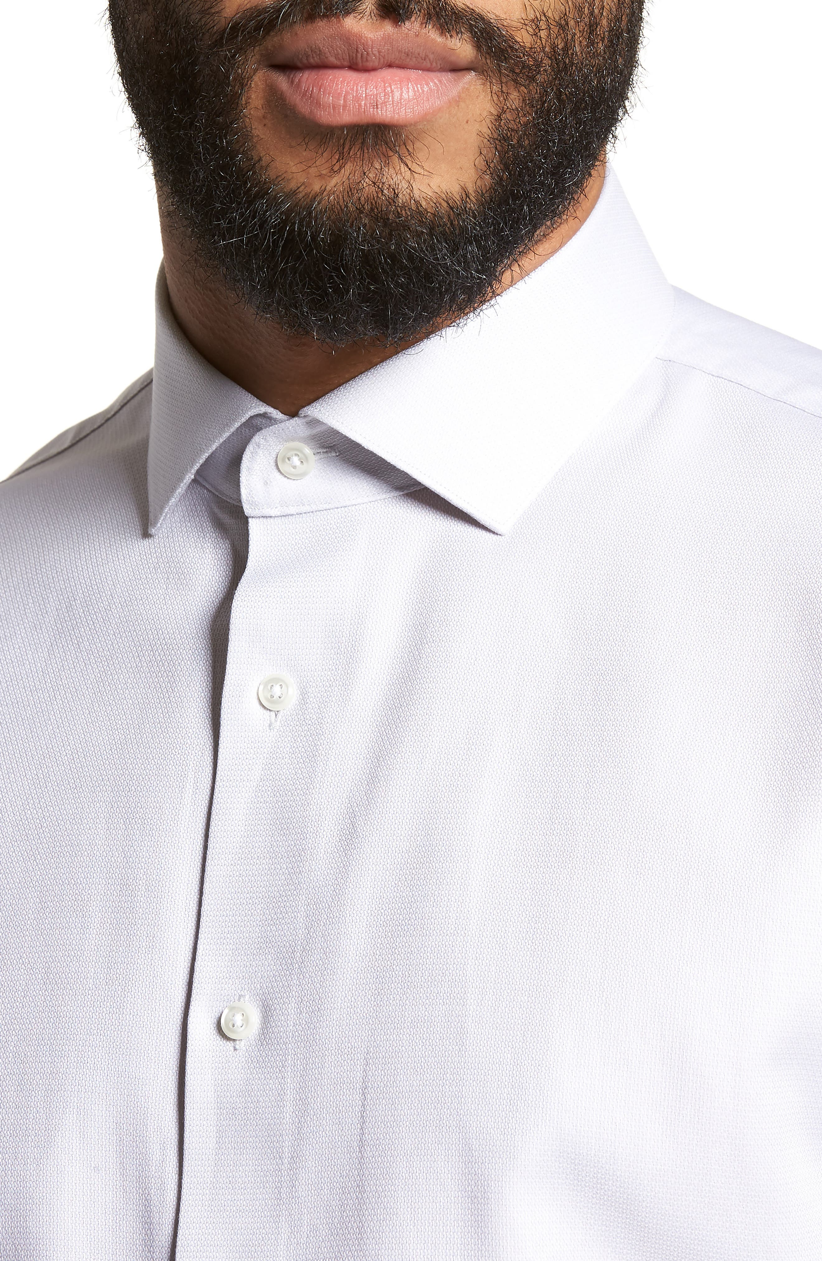 Trim Fit Solid Dress Shirt,                             Alternate thumbnail 7, color,