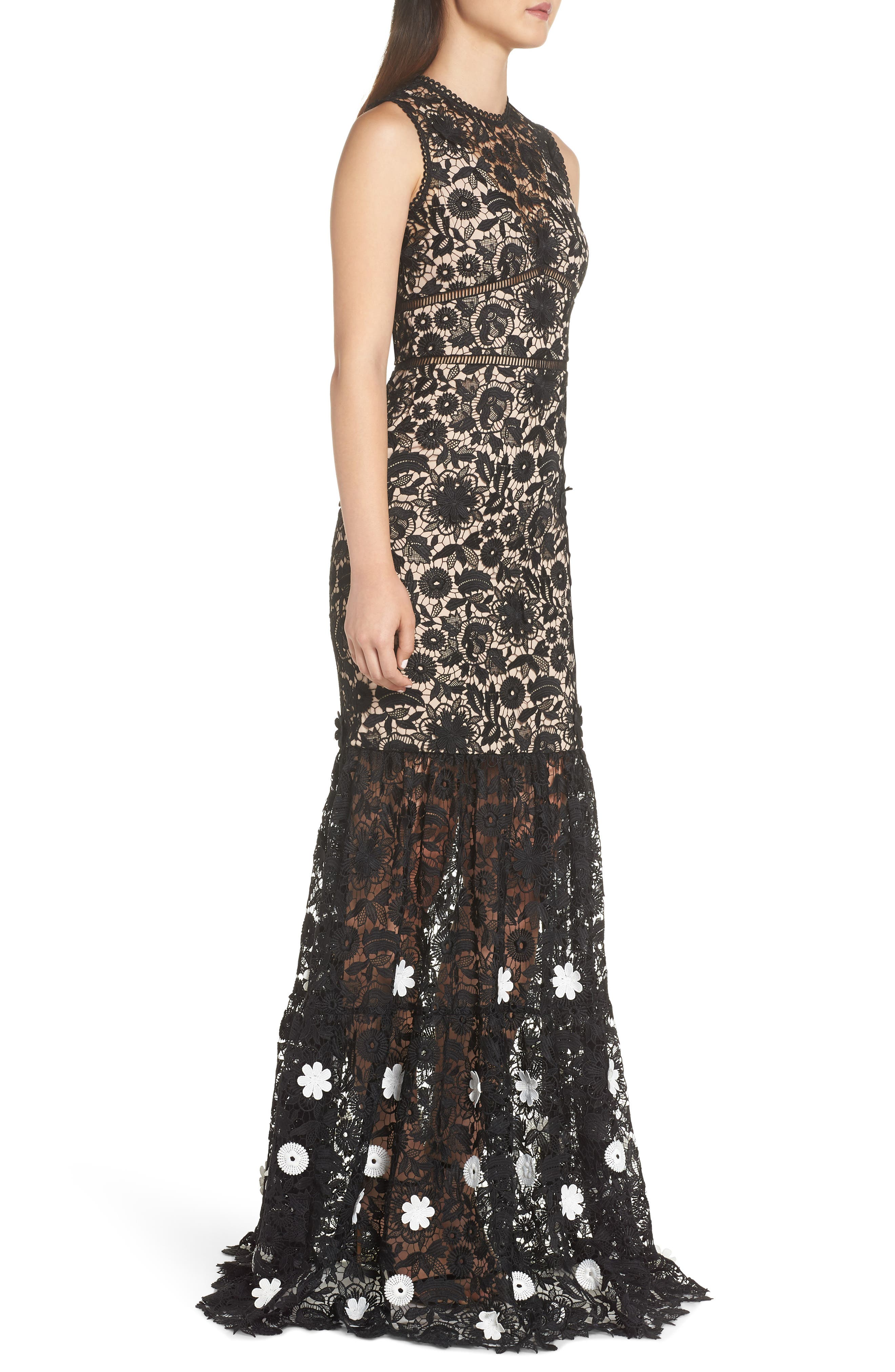 3D Black & White Floral Lace Gown,                             Alternate thumbnail 3, color,                             JET IVORY COMBO