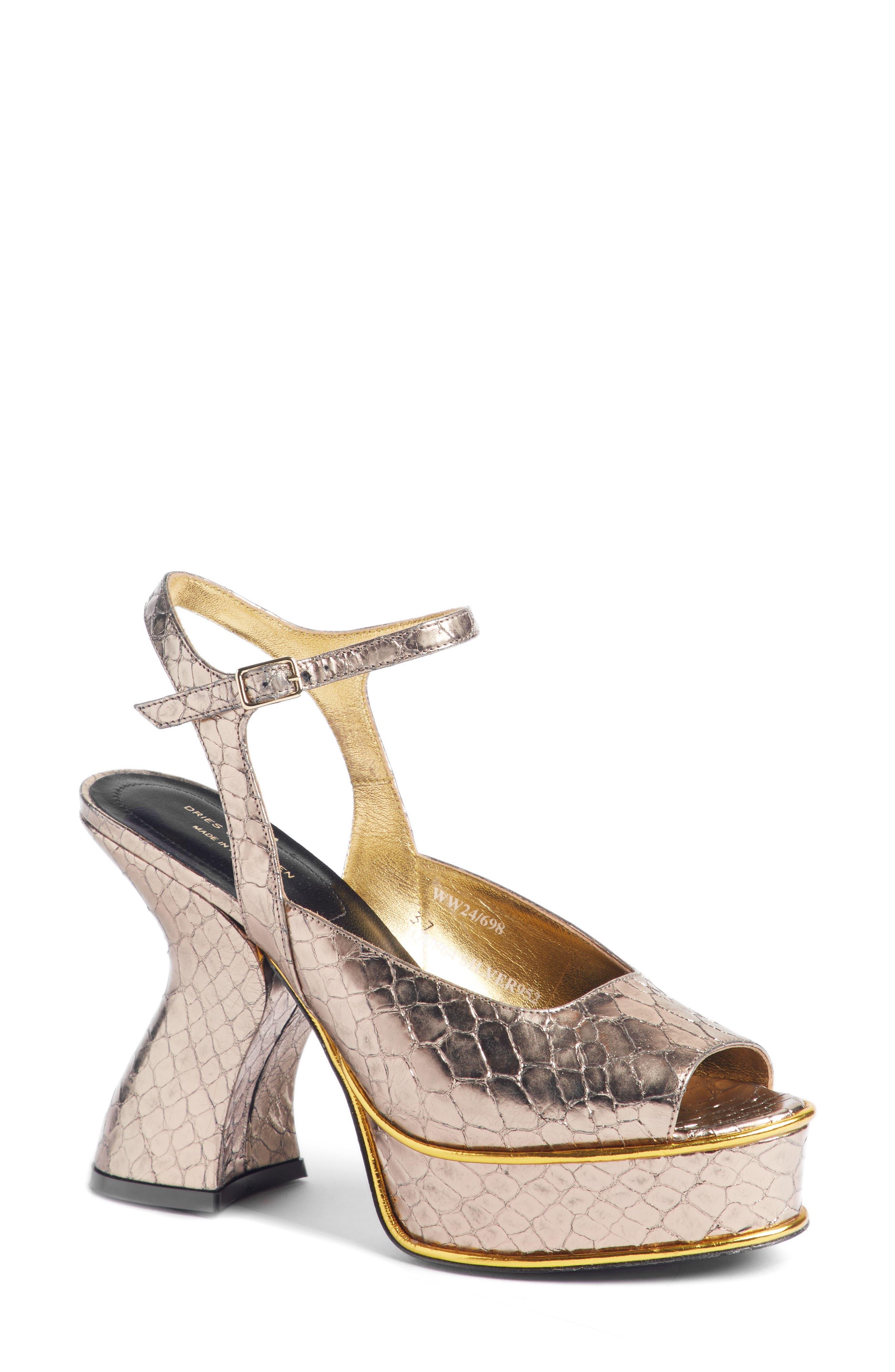 Wave Heel Platform Sandal,                             Main thumbnail 1, color,                             SILVER