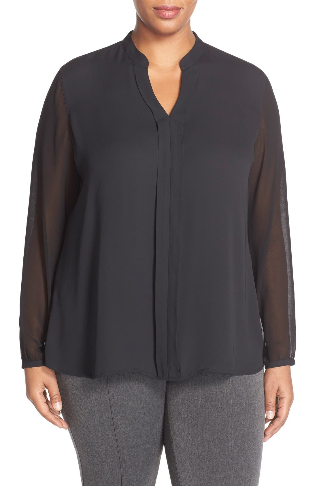 Sheer Sleeve Split Neck Blouse,                         Main,                         color, 001