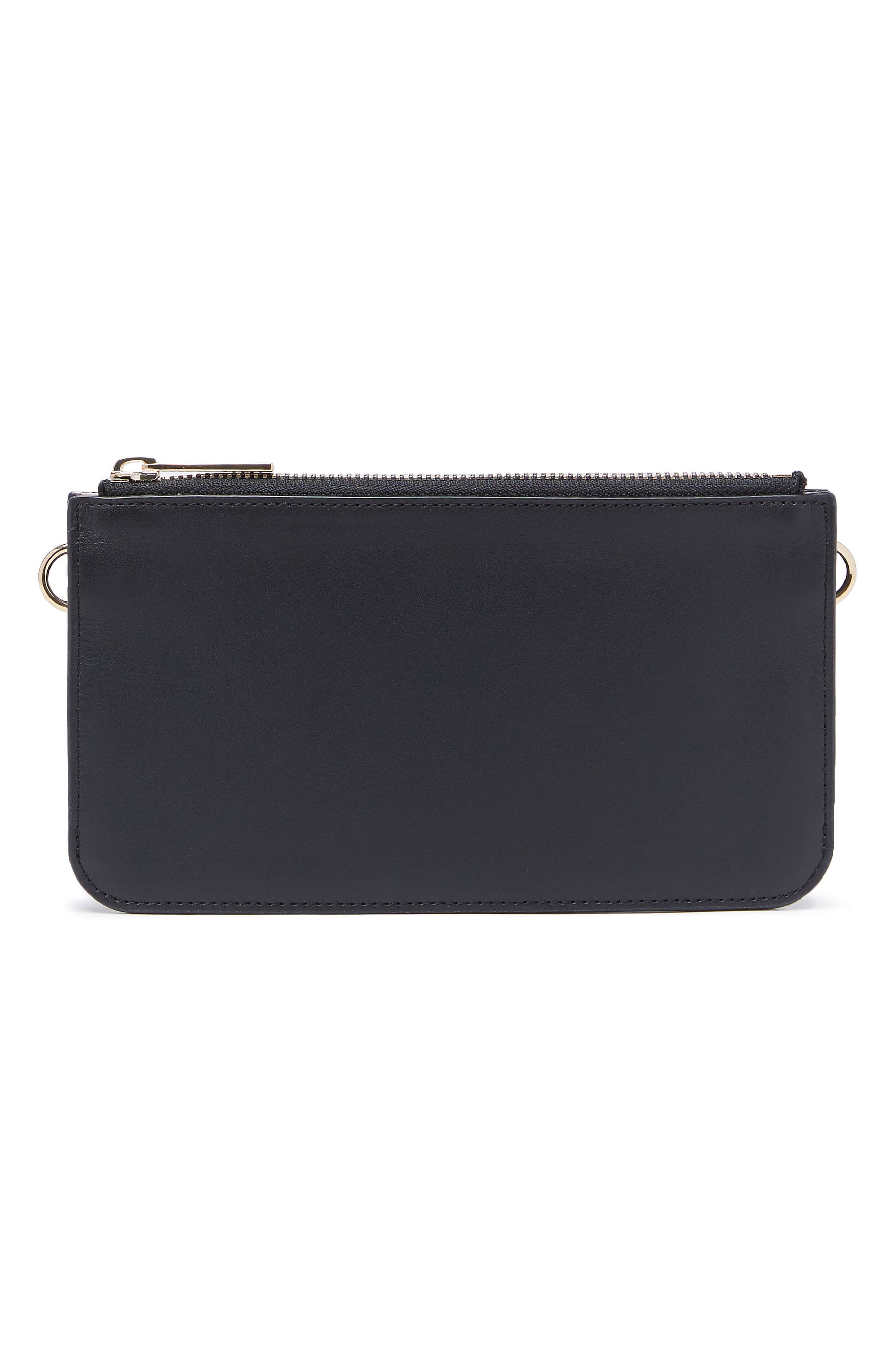 Leather Zip Pouch,                             Main thumbnail 1, color,                             001