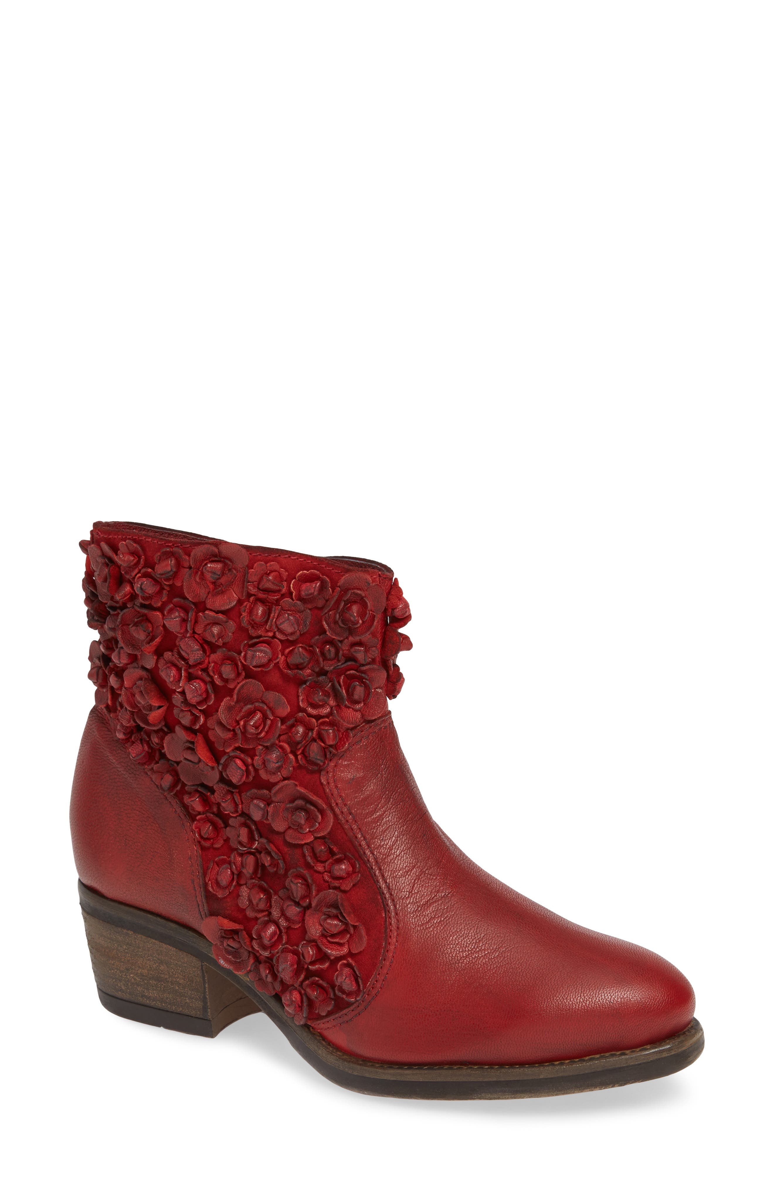 Sapphire Bootie,                             Main thumbnail 1, color,                             RED LEATHER