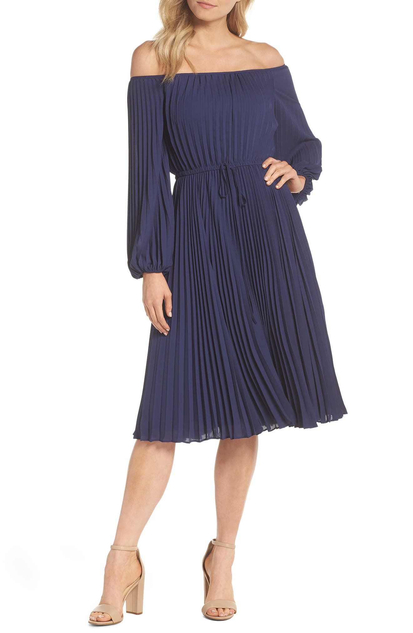 Elise Off the Shoulder Pleated Georgette Dress,                             Main thumbnail 1, color,                             NAVY W/ SELF PIPING