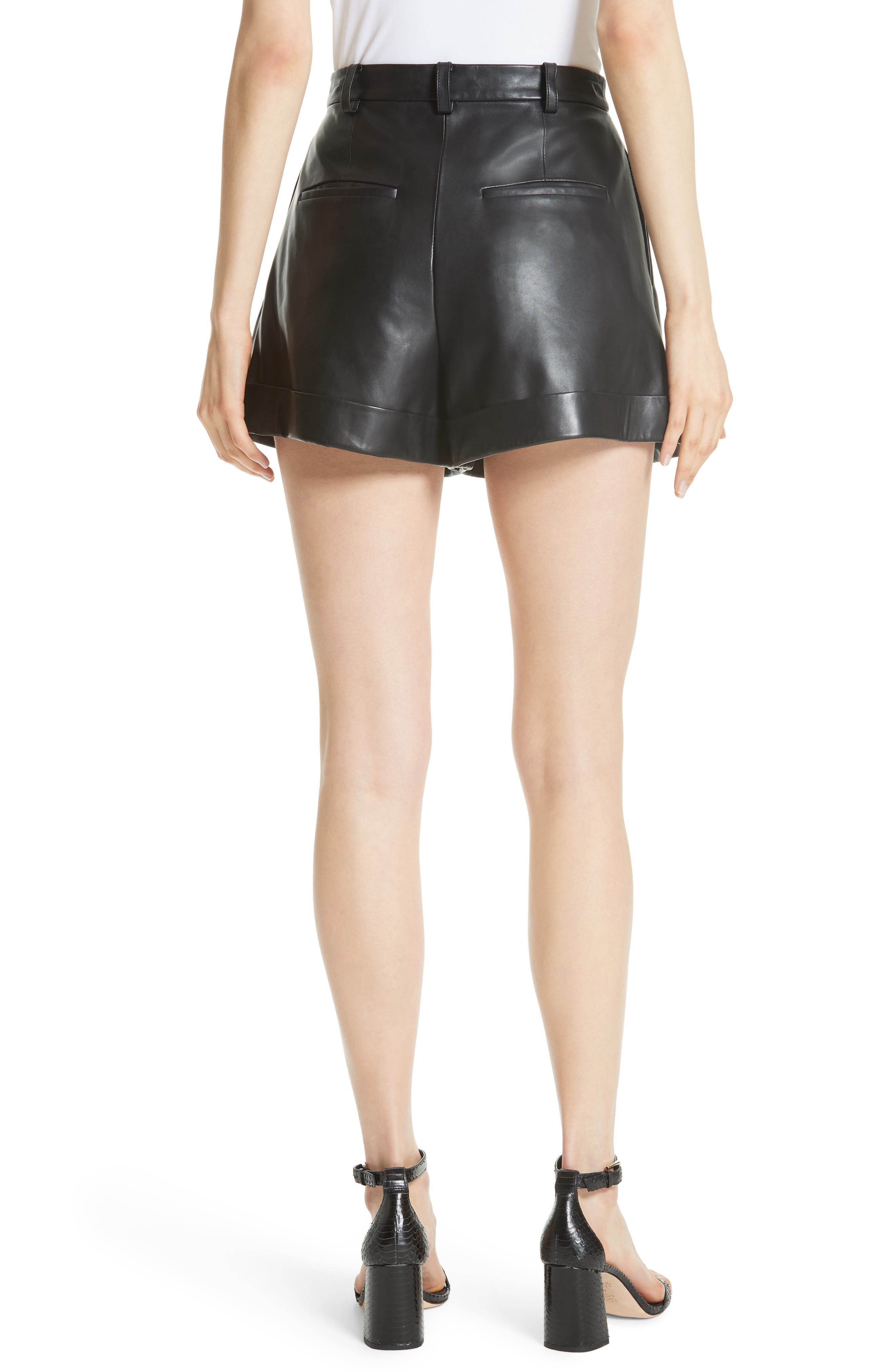 Conry Leather Pleated Cuff Shorts,                             Alternate thumbnail 2, color,                             BLACK