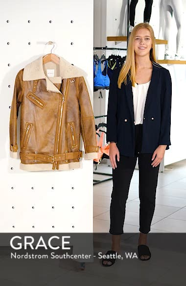 Faux Shearling Biker Jacket, sales video thumbnail