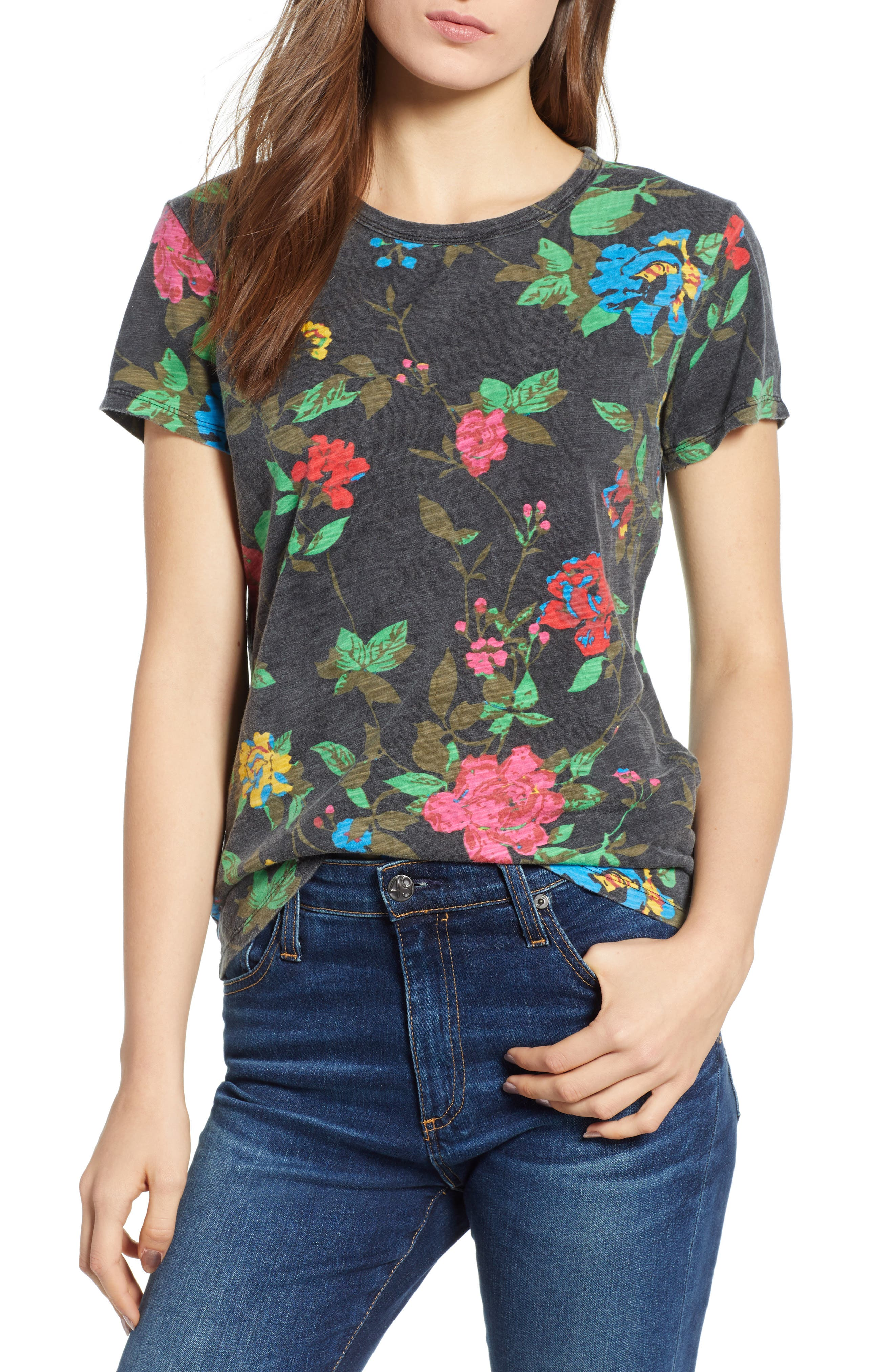 Floral Tee,                         Main,                         color, BLACK