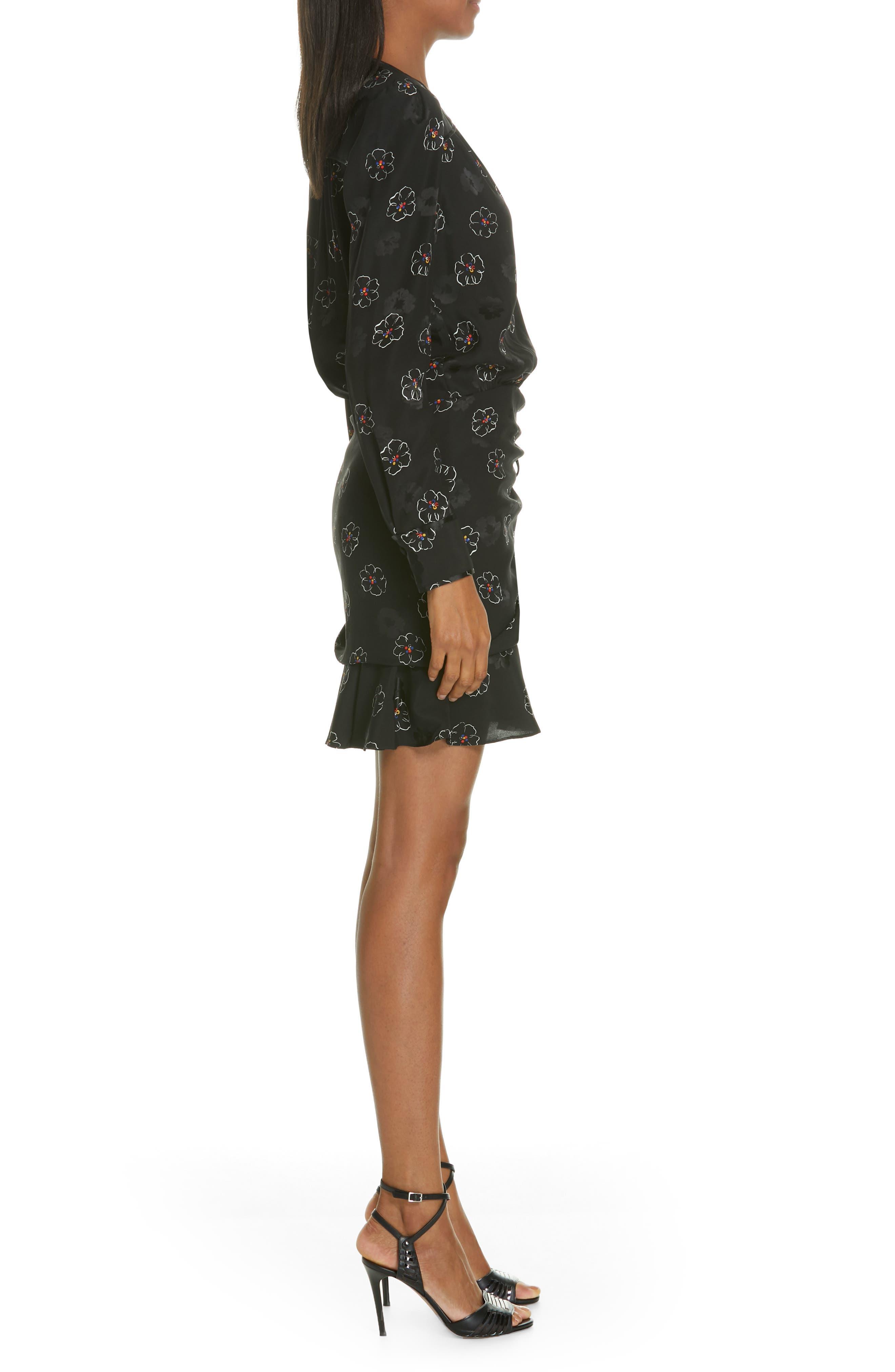 Anders Floral Print Stretch Silk Dress,                             Alternate thumbnail 3, color,                             BLACK MULTI