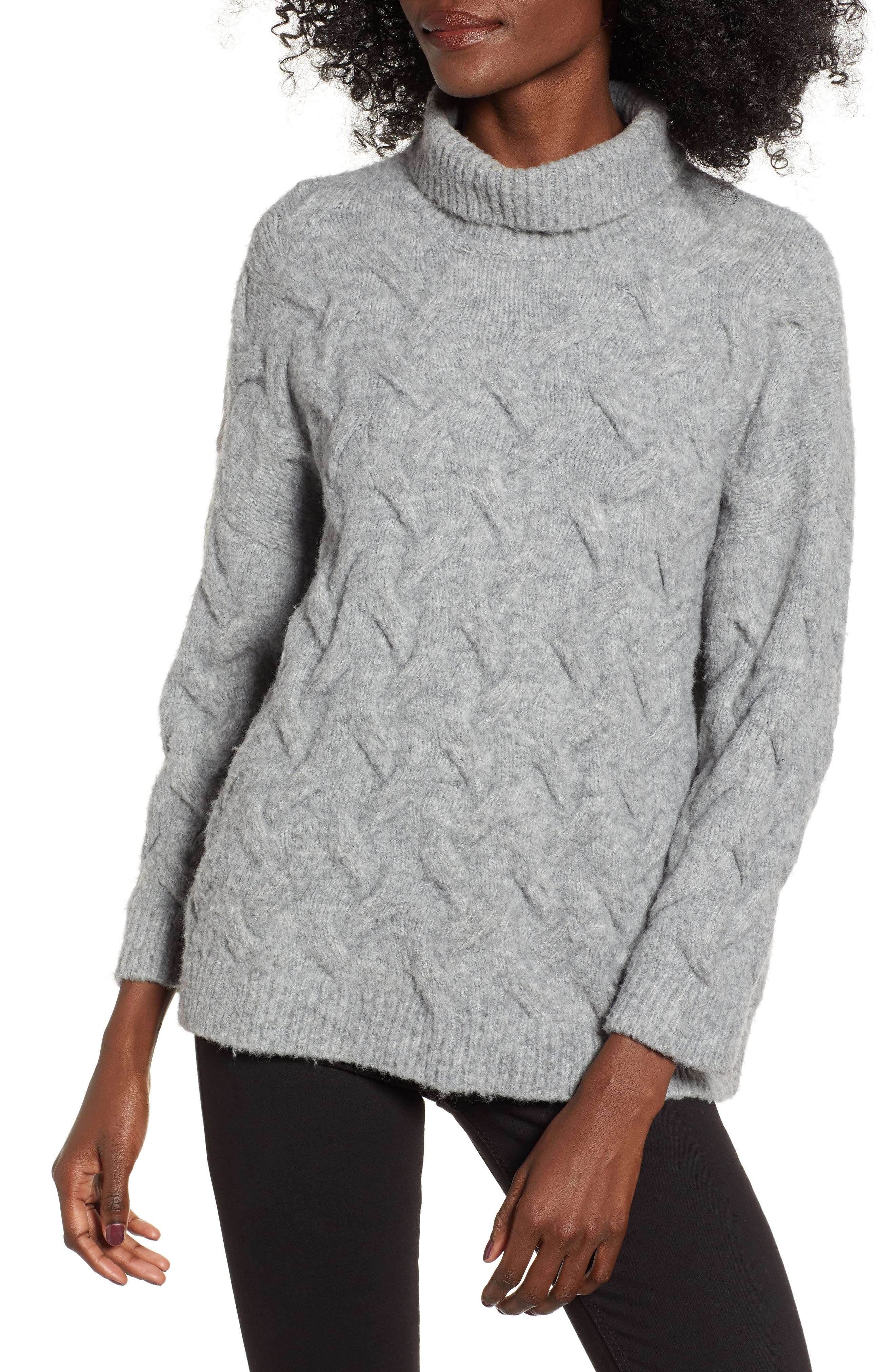 ENDLESS ROSE Chunky Cable Knit Sweater in Grey