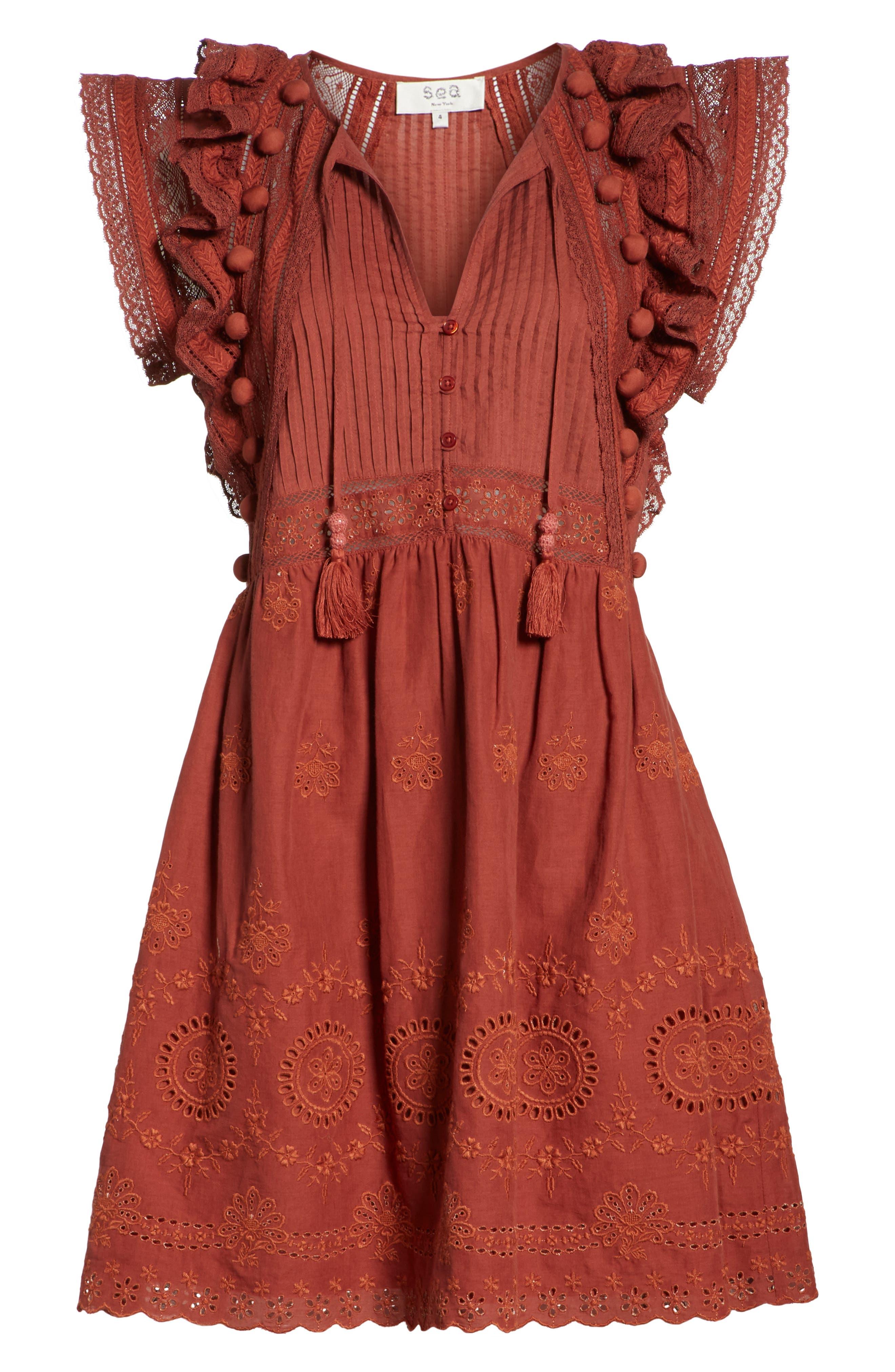 Sofie Lace & Pompom Dress,                             Alternate thumbnail 6, color,                             CLAY