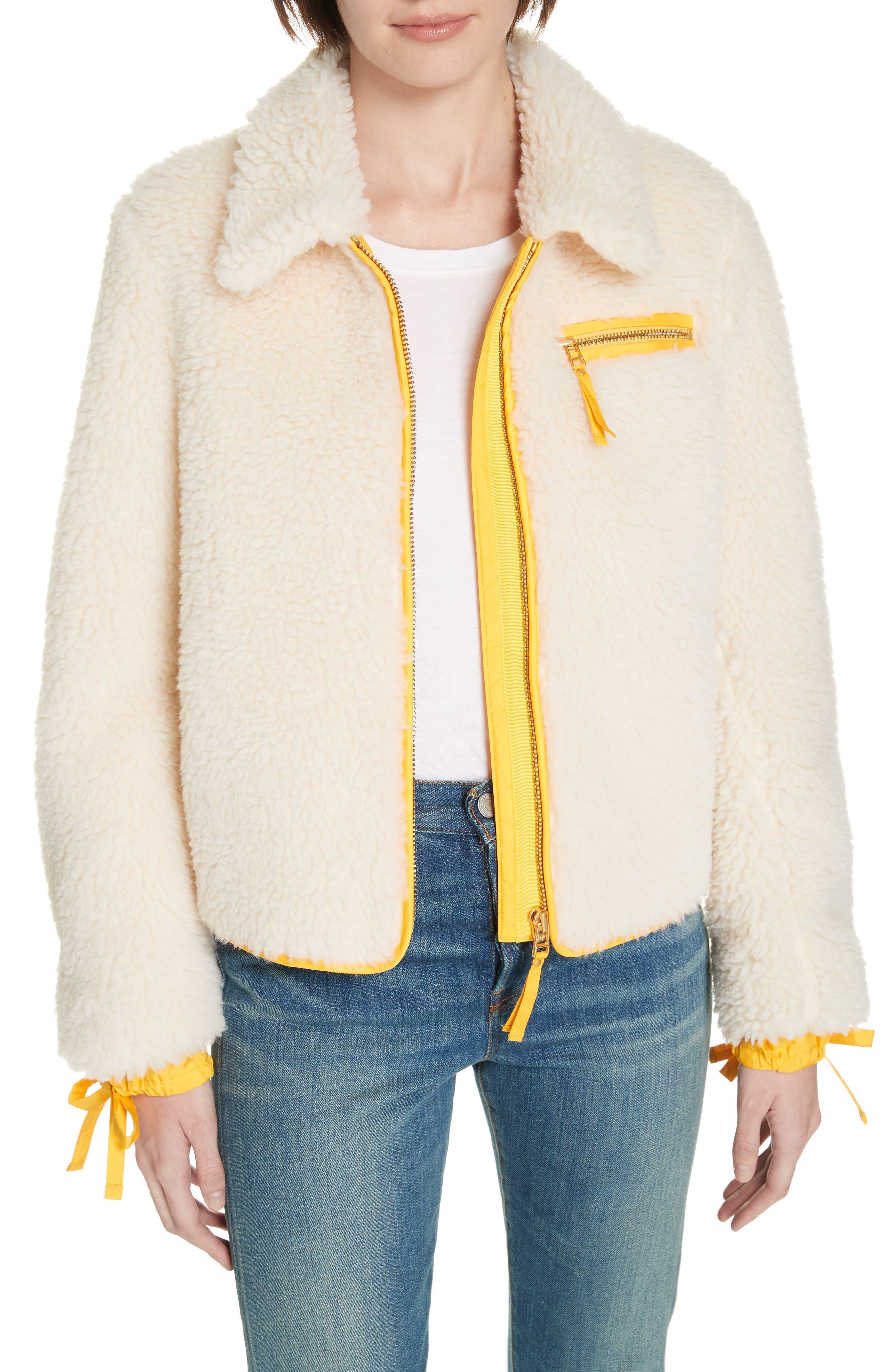 Faux Shearling Jacket,                             Main thumbnail 1, color,                             NEW IVORY