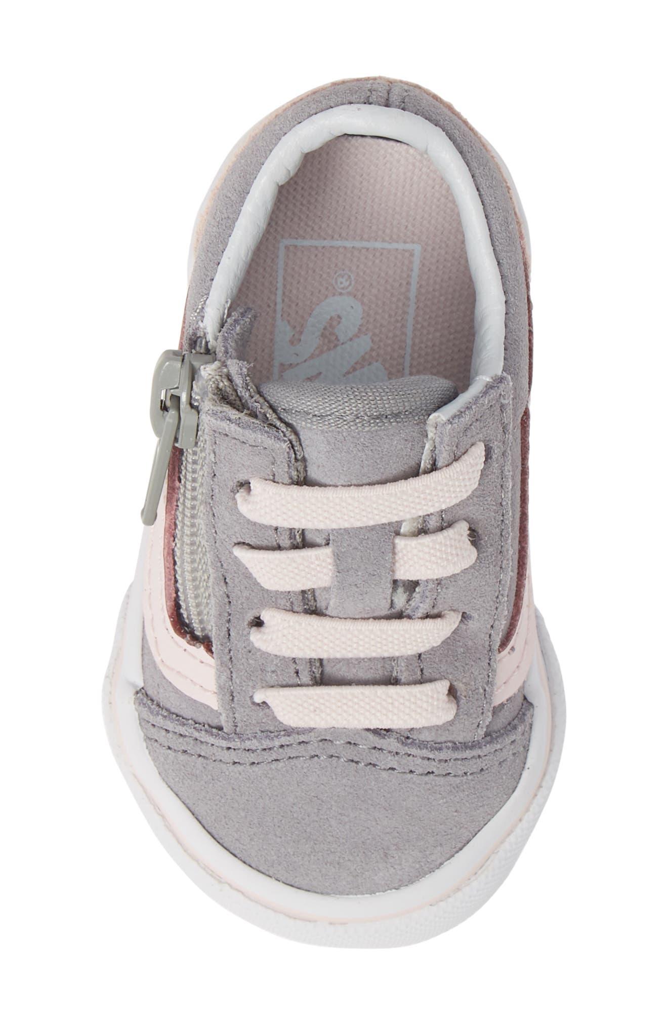 Old Skool Zip Sneaker,                             Alternate thumbnail 5, color,                             SUEDE ALLOY/ PINK/ TRUE WHITE