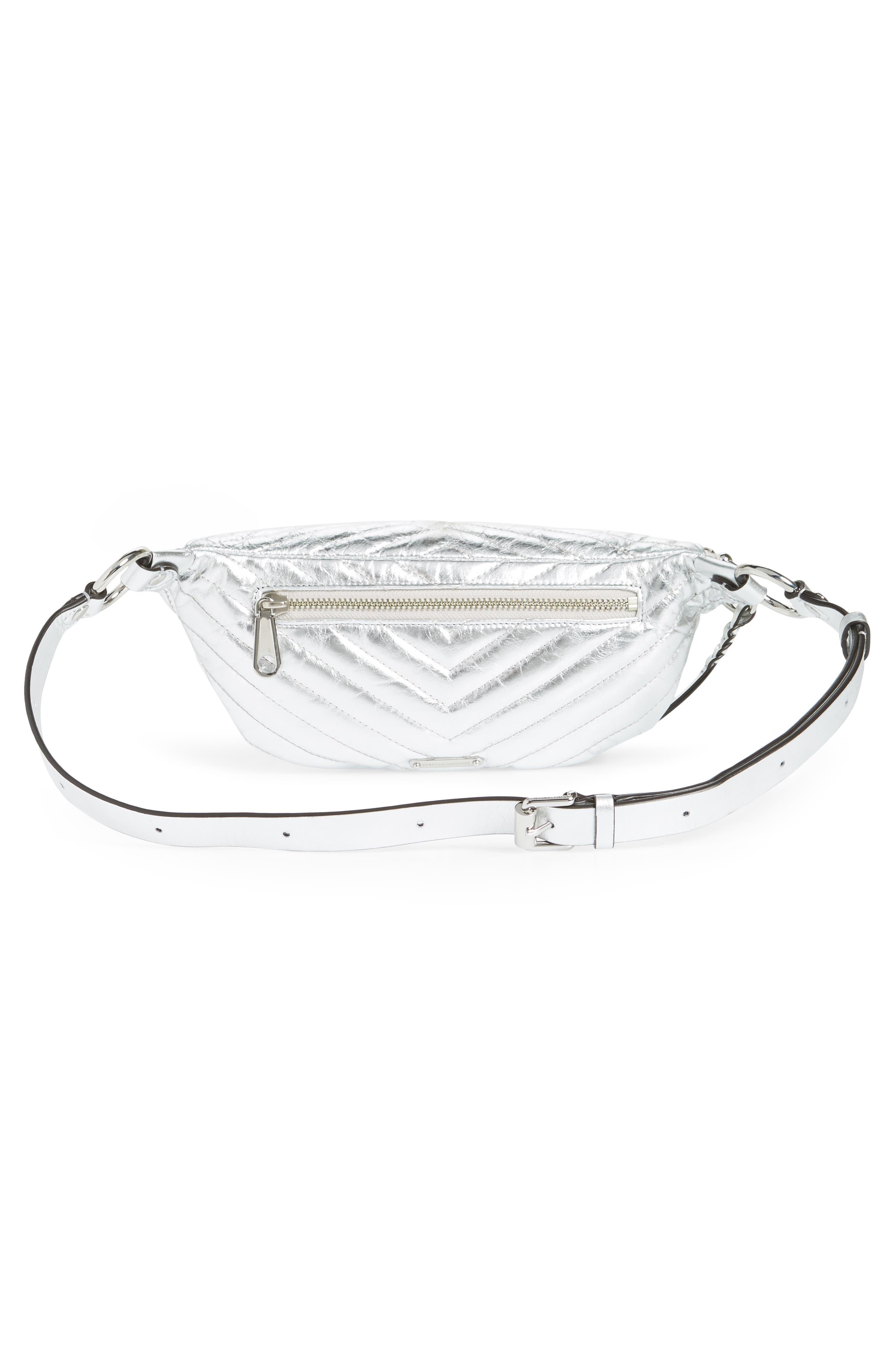 Edie Metallic Leather Belt Bag,                             Alternate thumbnail 4, color,                             SILVER