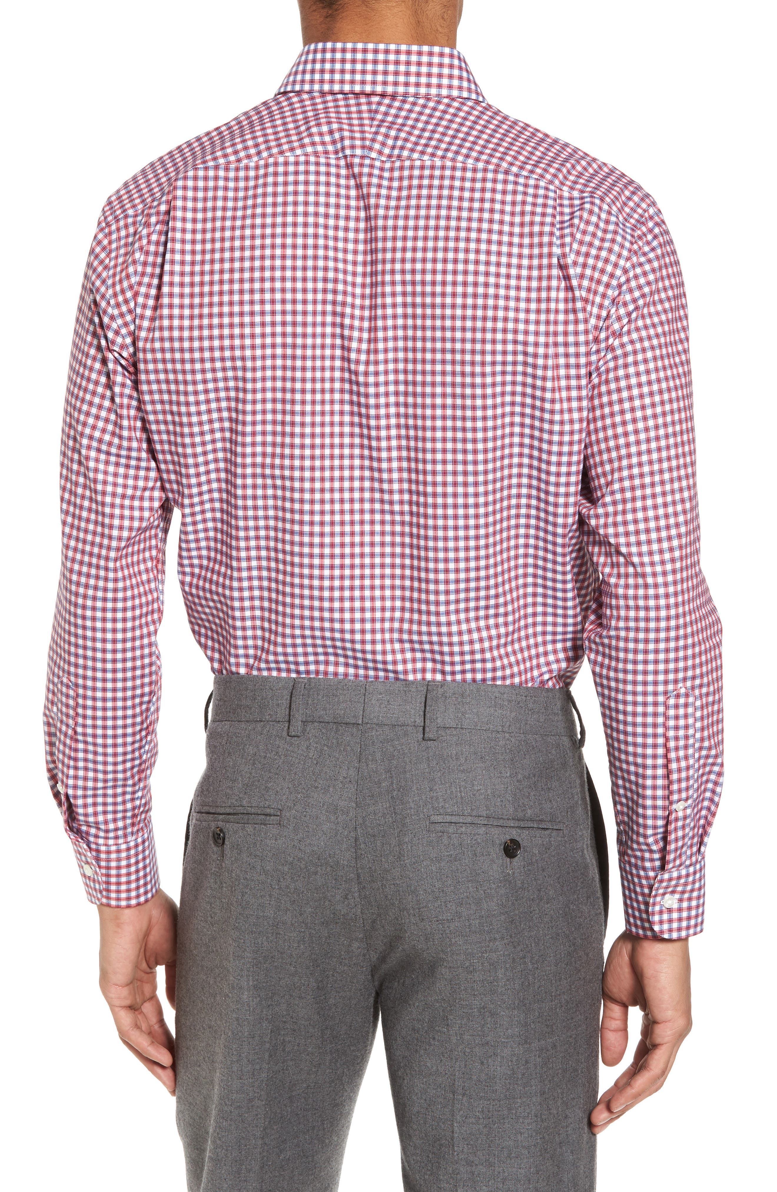 Trim Fit Non-Iron Check Dress Shirt,                             Alternate thumbnail 6, color,