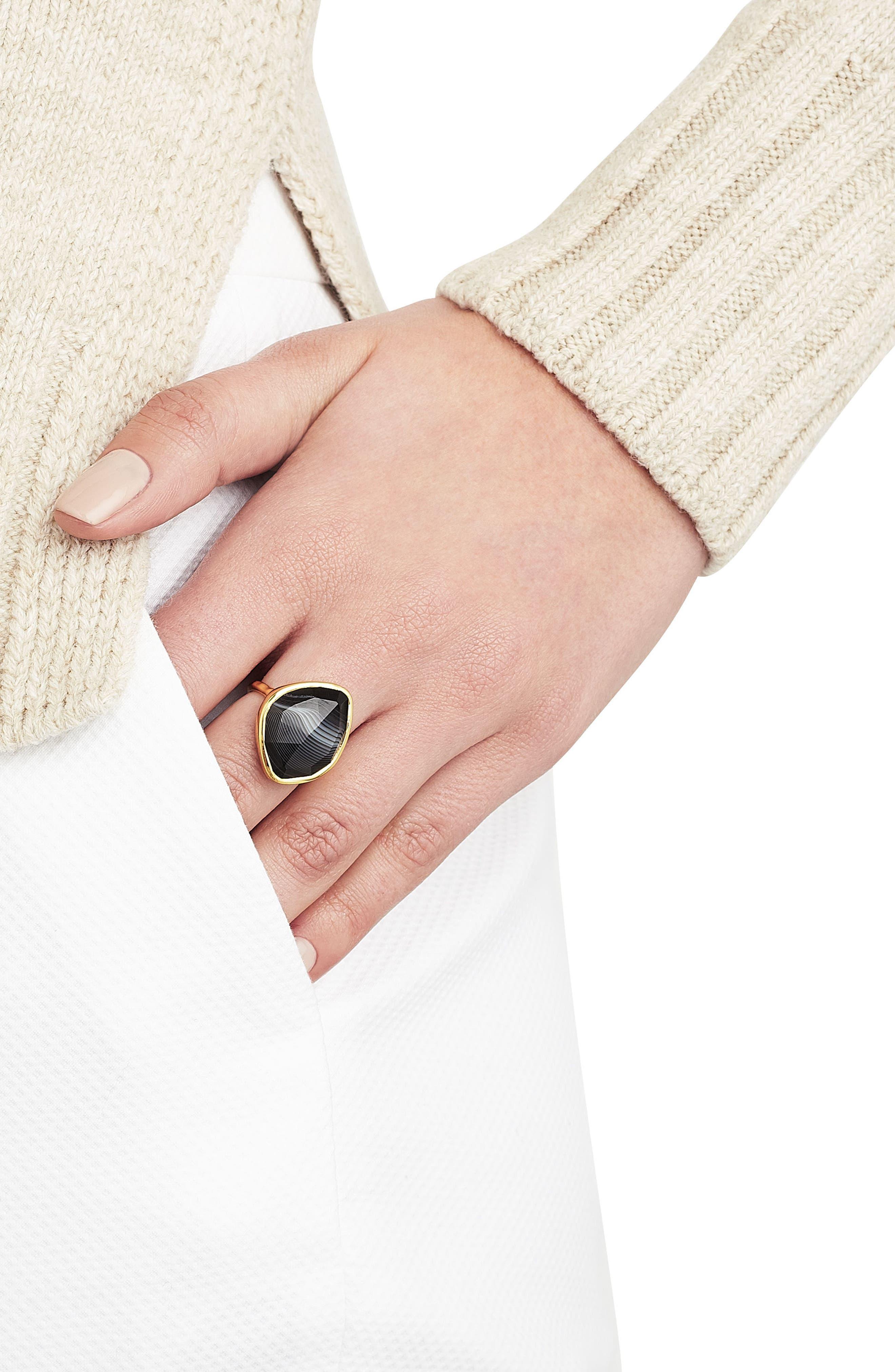 Siren Nugget Semiprecious Stone Ring,                             Alternate thumbnail 3, color,                             BLACK LINE ONYX/ YELLOW GOLD