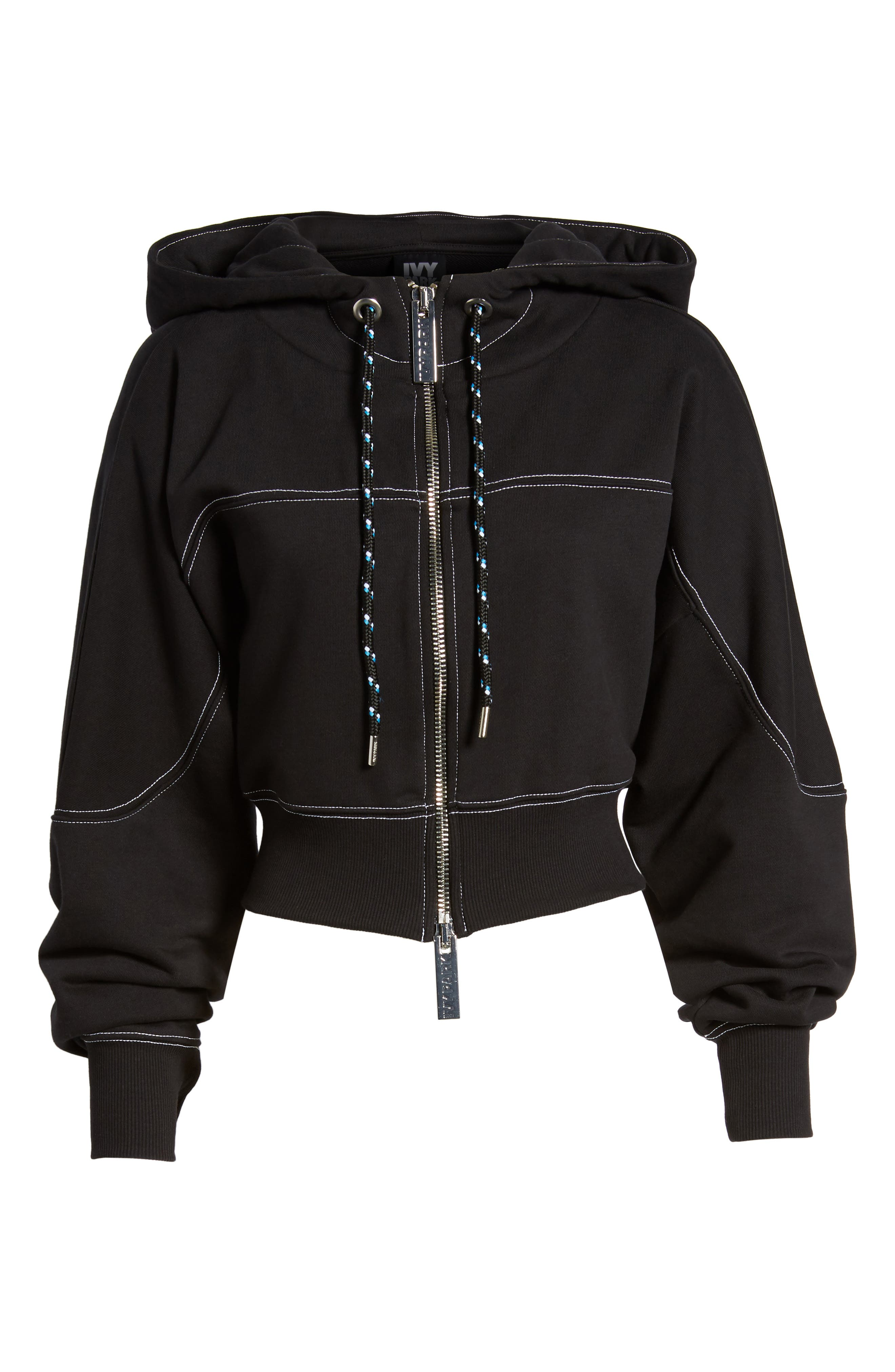 Lace-Up Back Zip Through Hoodie,                             Alternate thumbnail 7, color,                             001