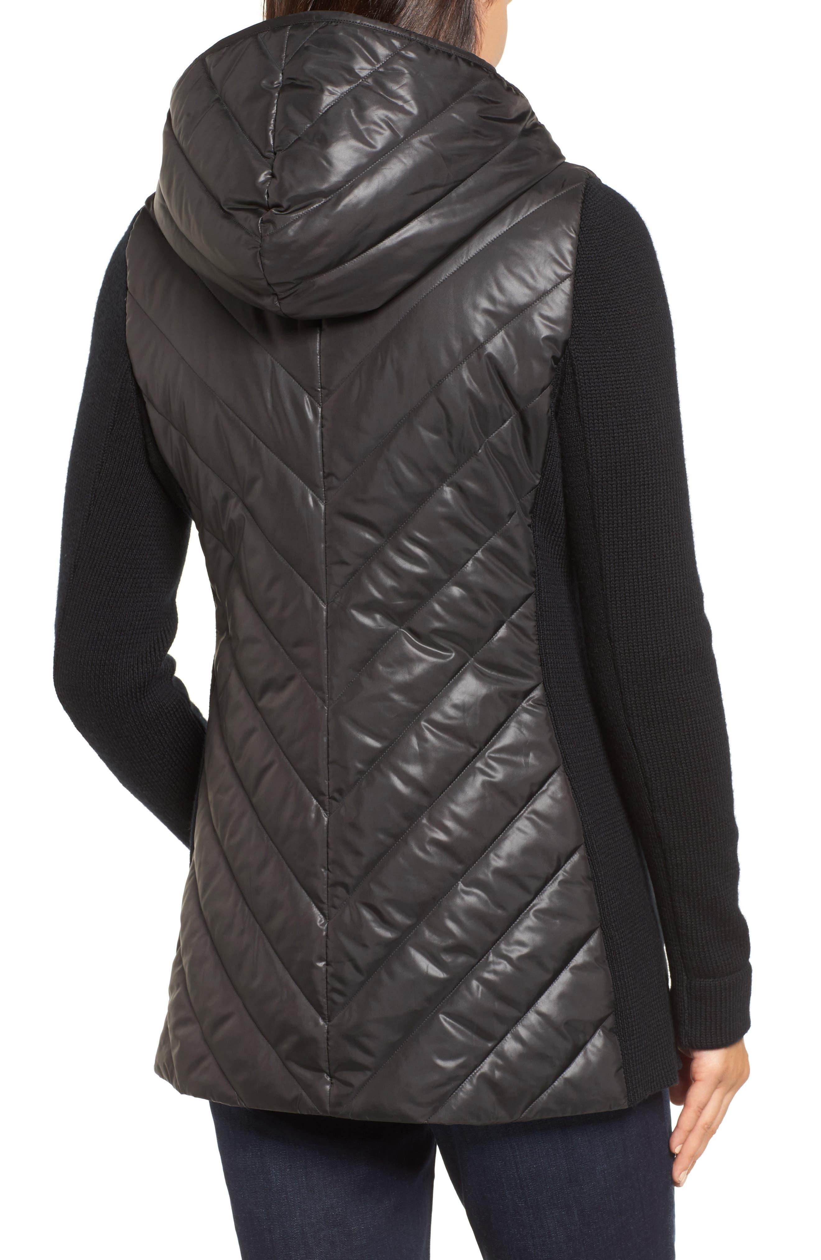 Hooded Merino Wool Trim Jacket,                             Alternate thumbnail 2, color,                             001