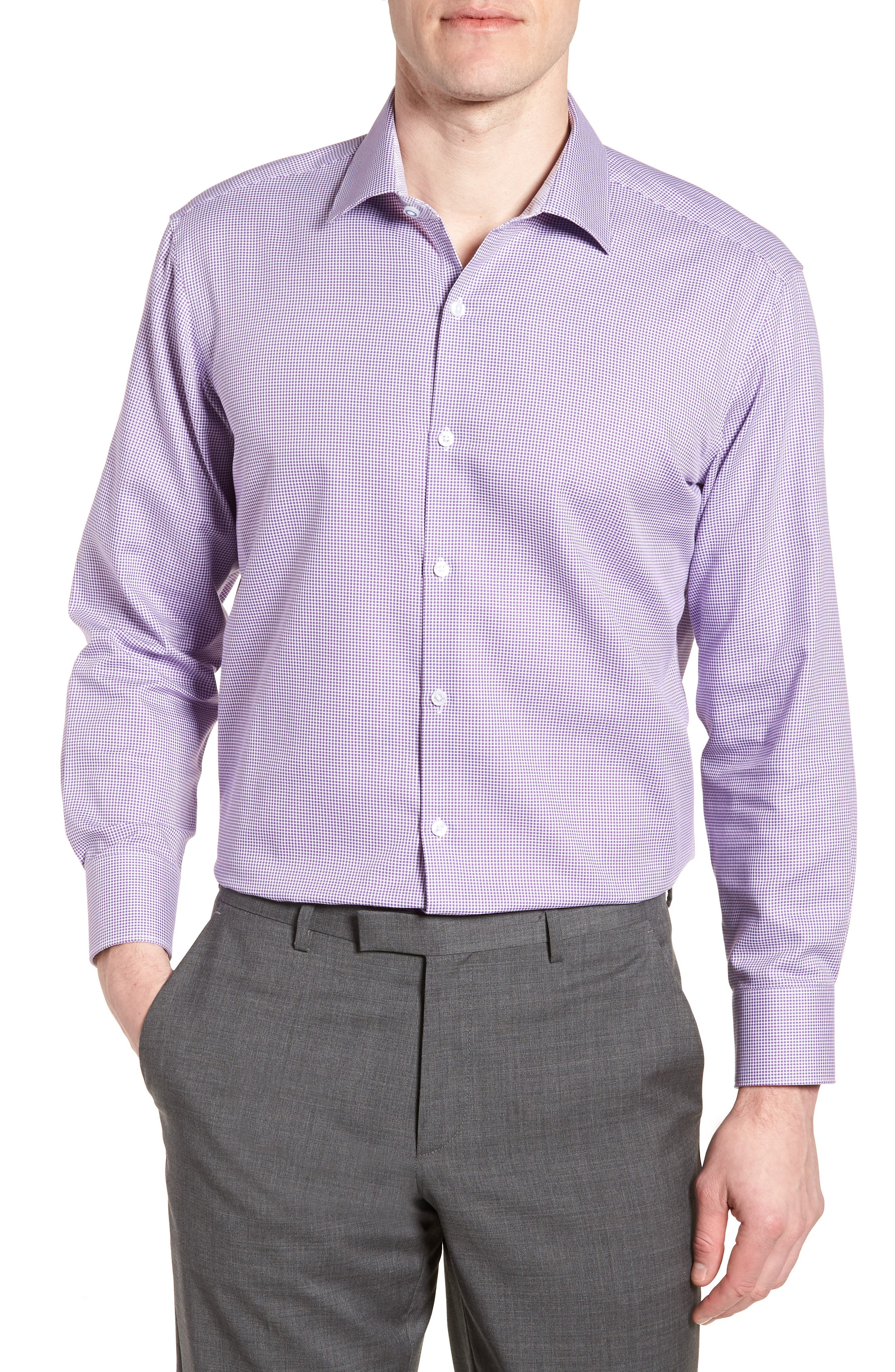 Hayden Trim Fit Check Dress Shirt,                         Main,                         color, PURPLE