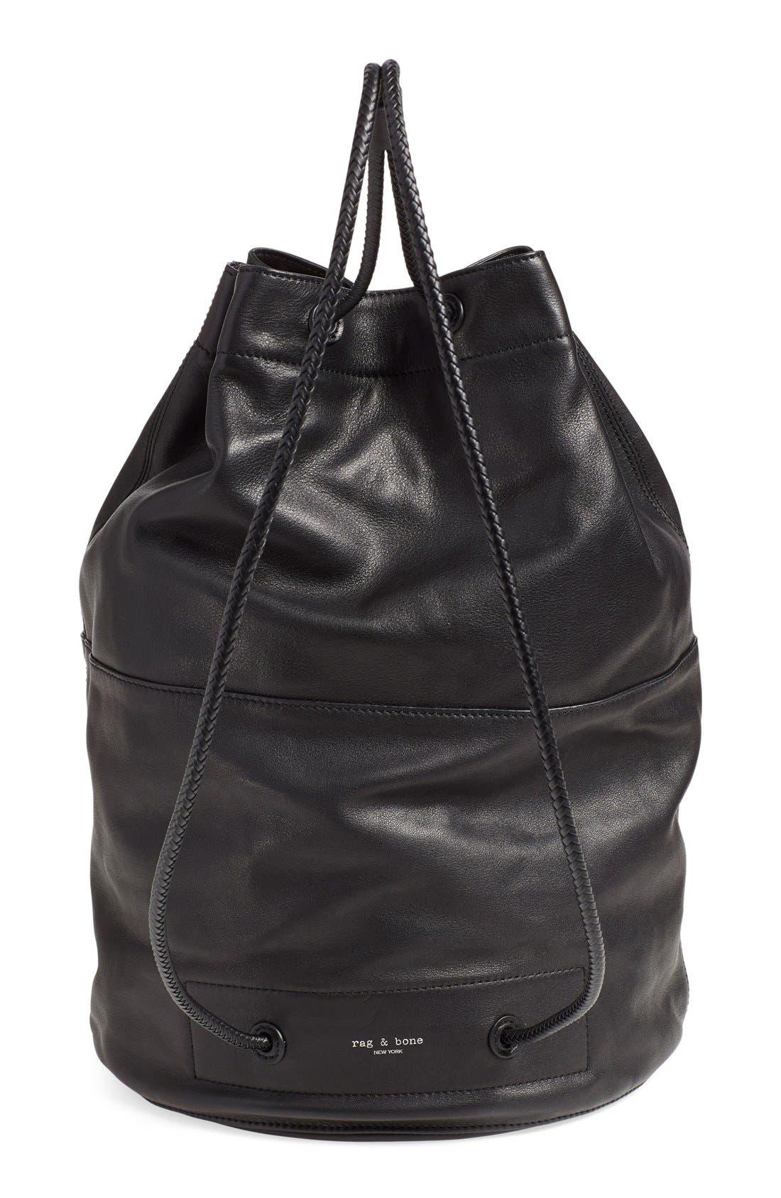 'Walker' Leather Backpack,                             Alternate thumbnail 5, color,                             001