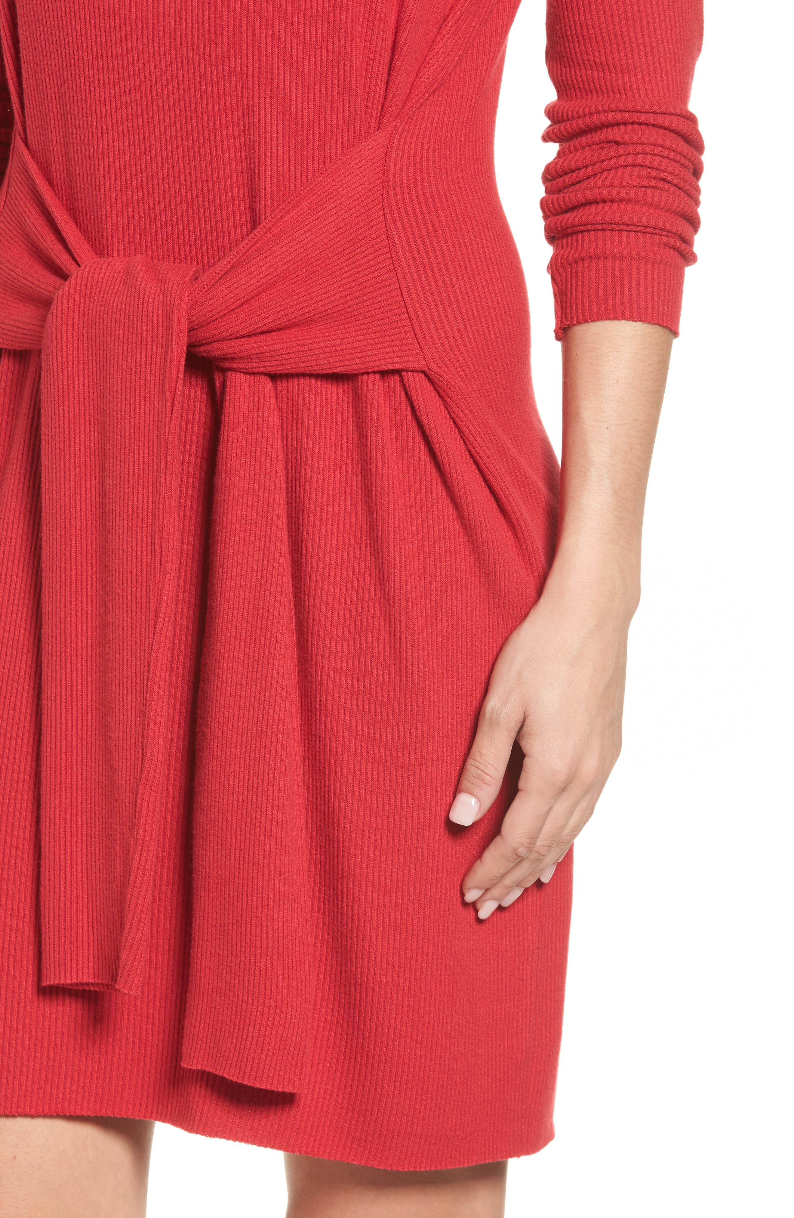 Ribbed Tie-Waist Sweater Dress,                             Alternate thumbnail 4, color,                             600