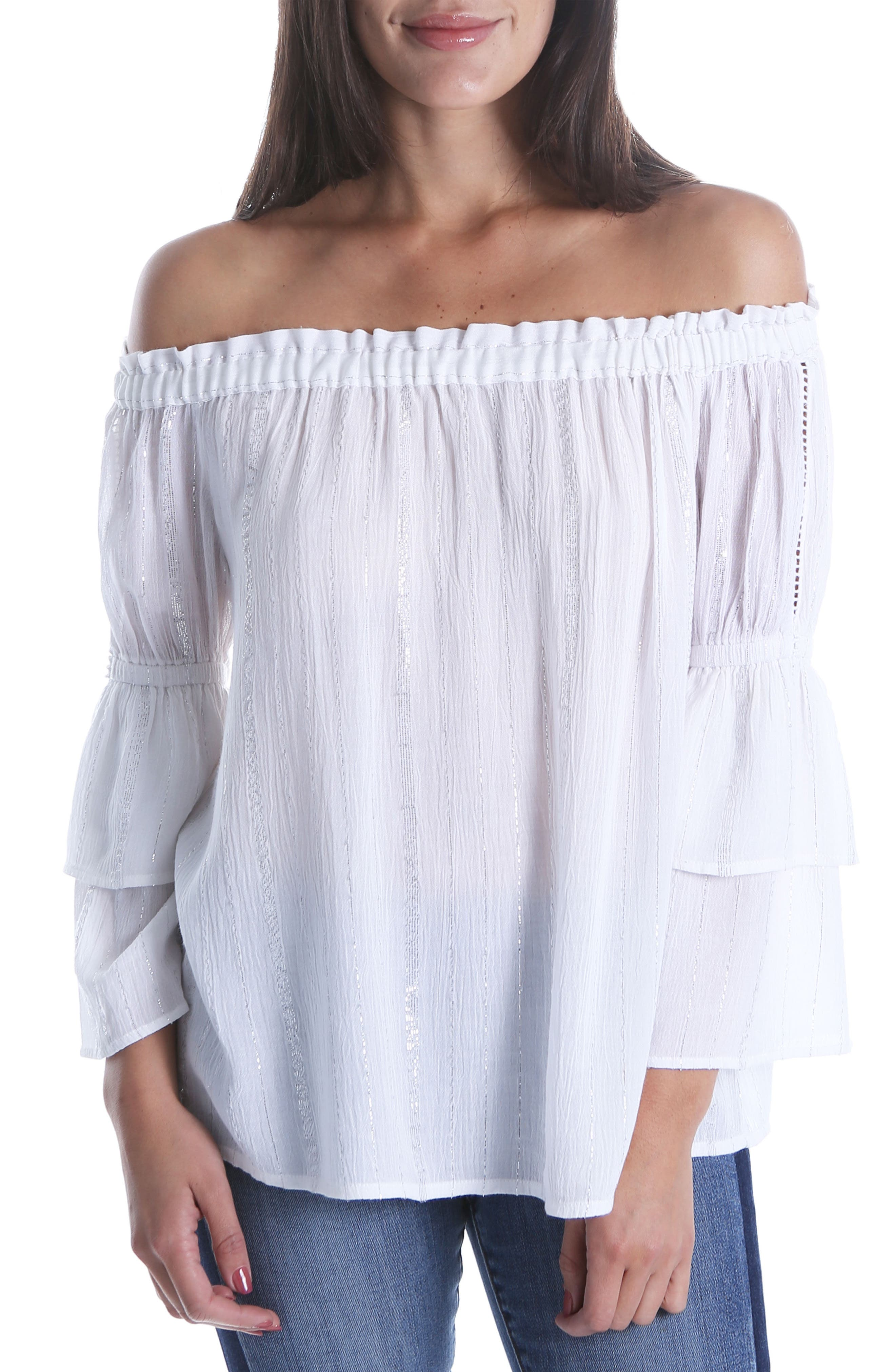 Kaylan Off the Shoulder Ruffle Sleeve Top,                             Main thumbnail 1, color,                             WHITE/ SILVER