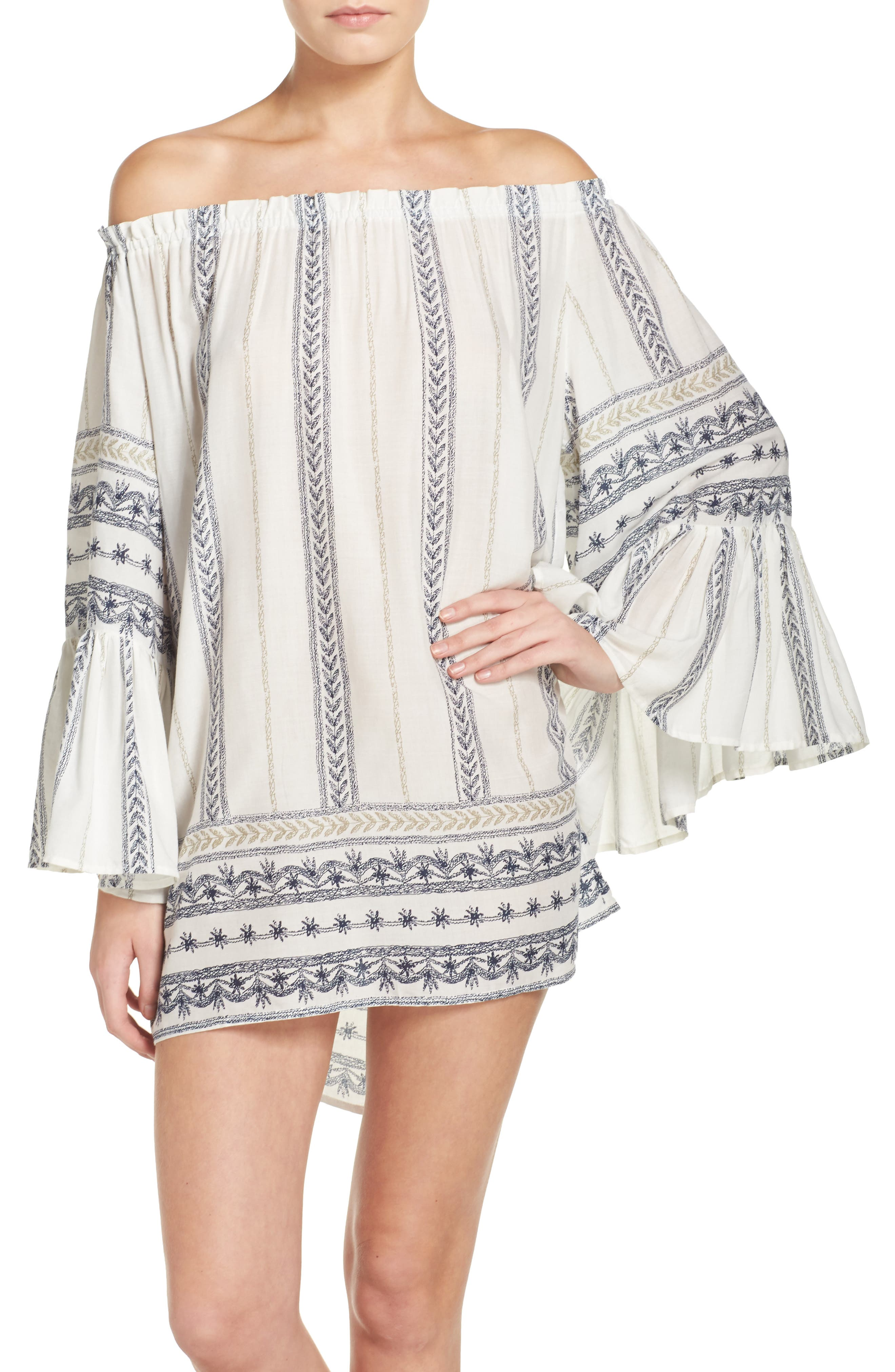 Bell Sleeve Cover-Up Tunic Dress,                             Main thumbnail 4, color,