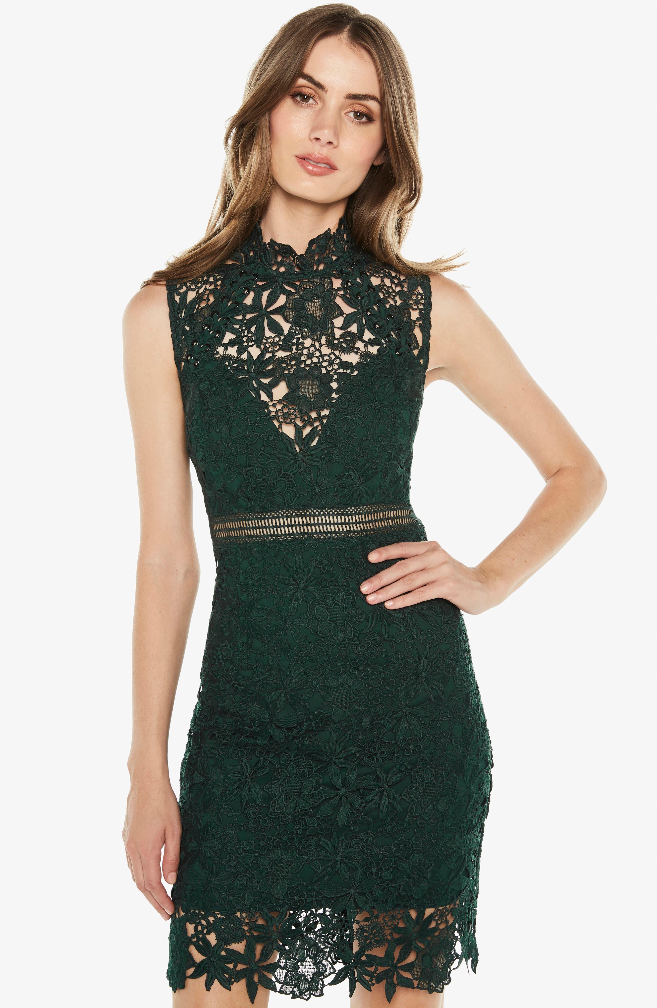 Paris Lace Body-Con Dress,                             Alternate thumbnail 7, color,                             FOREST GREEN
