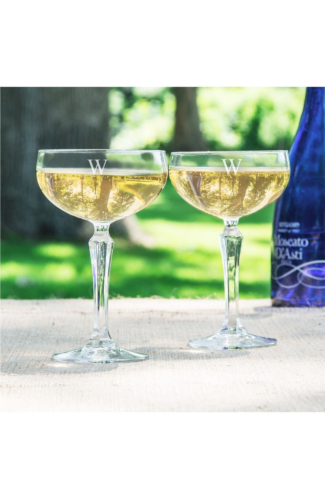 Monogram Coupe Cocktail/Champagne Glasses,                             Alternate thumbnail 3, color,                             123