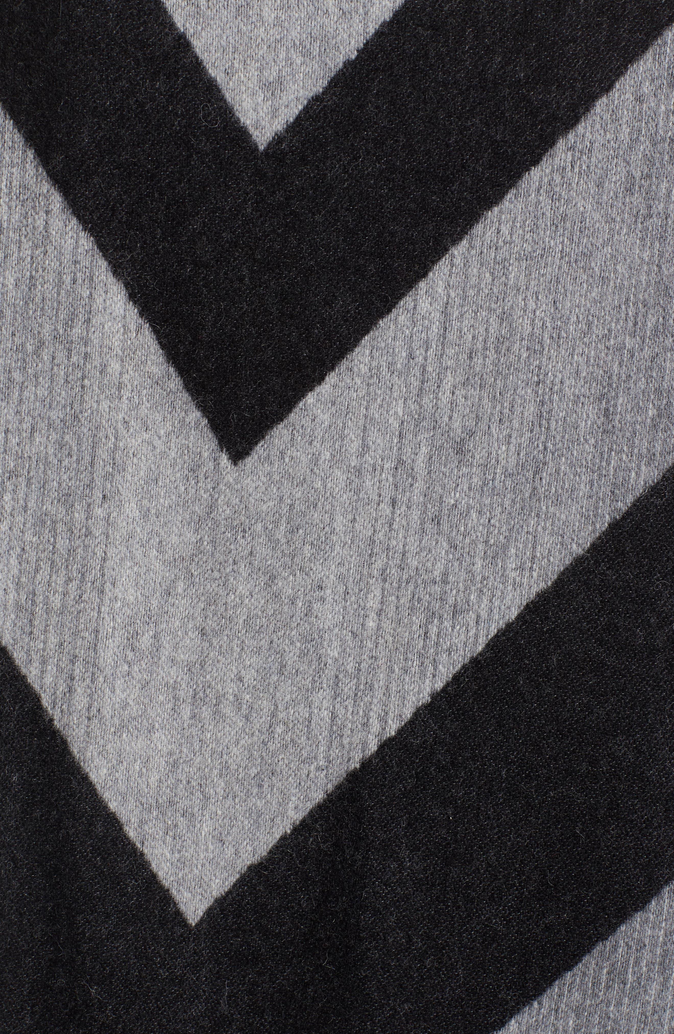 Stripe Wool Blend Poncho Wrap,                             Alternate thumbnail 5, color,                             030
