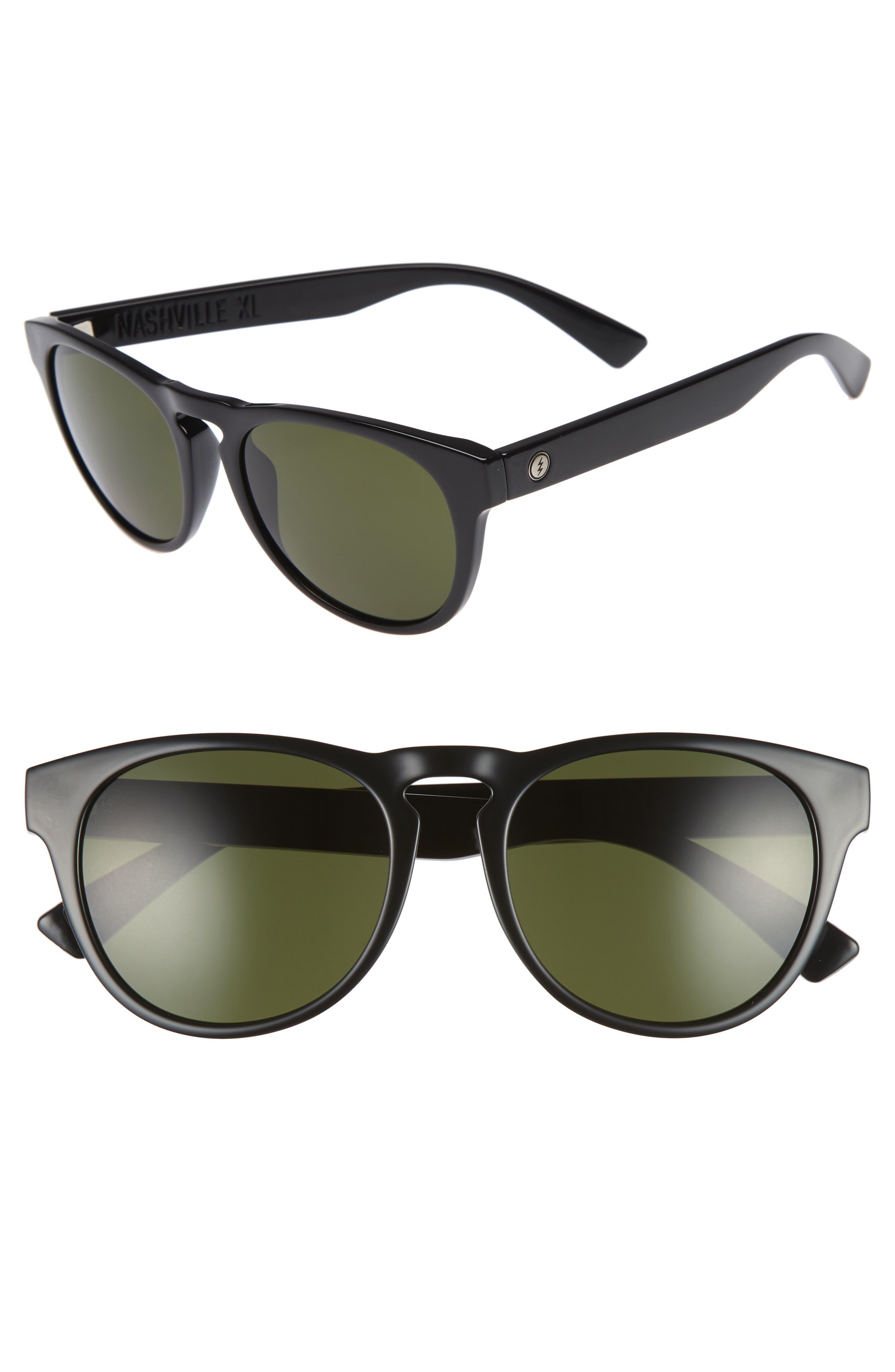 Nashville XL 52mm Melanin Infused Sunglasses,                             Main thumbnail 1, color,                             GLOSS BLACK/ GREY