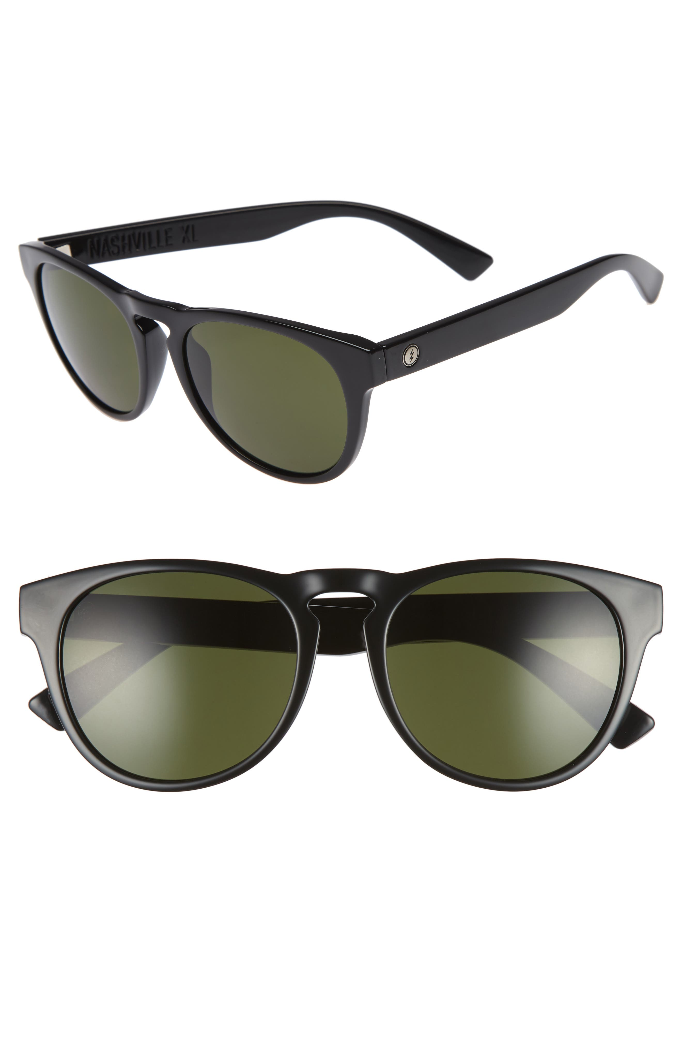 Nashville XL 52mm Melanin Infused Sunglasses,                         Main,                         color, GLOSS BLACK/ GREY