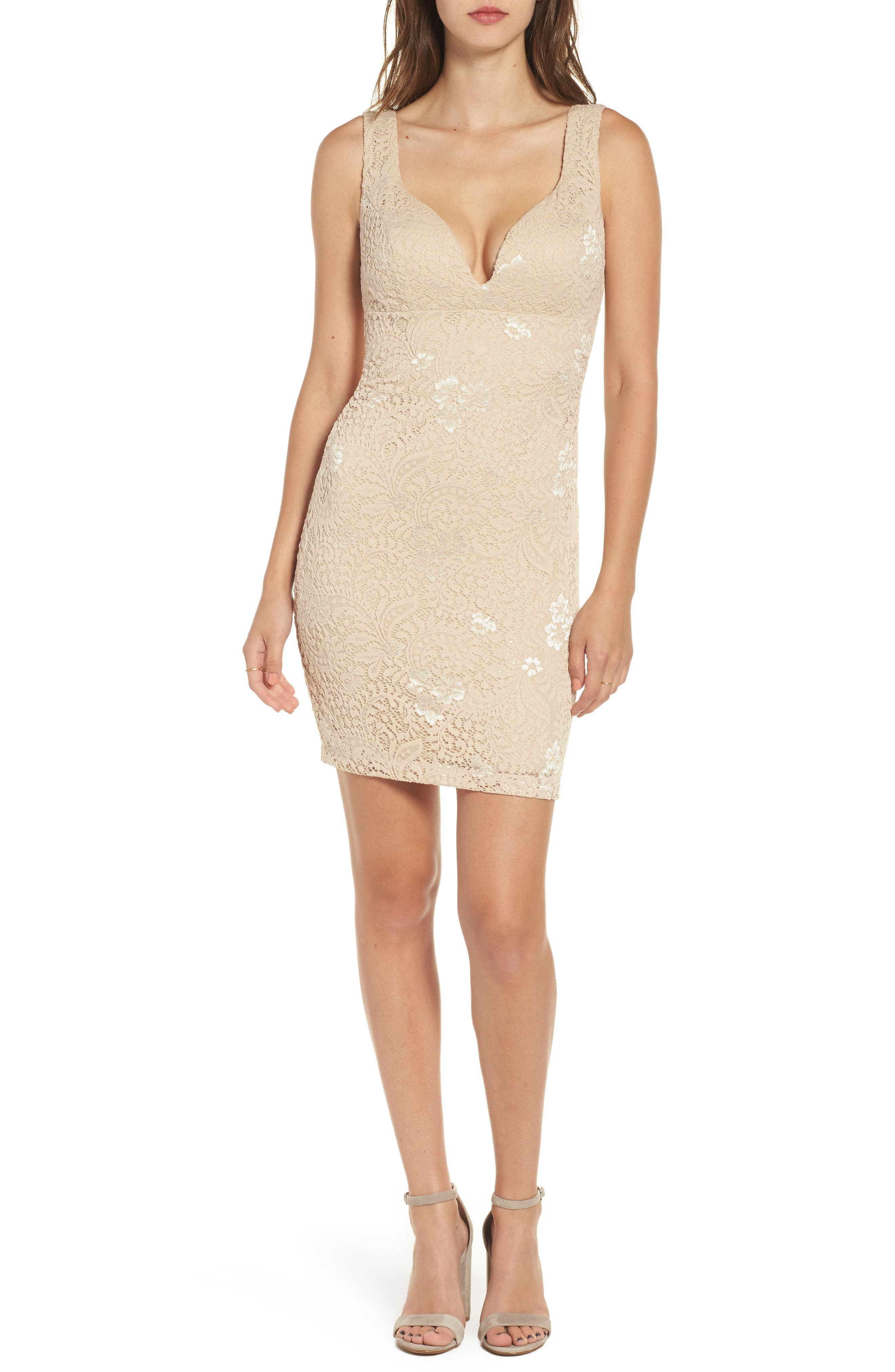 Love Nickie Lew Lace Body Con Dress,                             Main thumbnail 2, color,