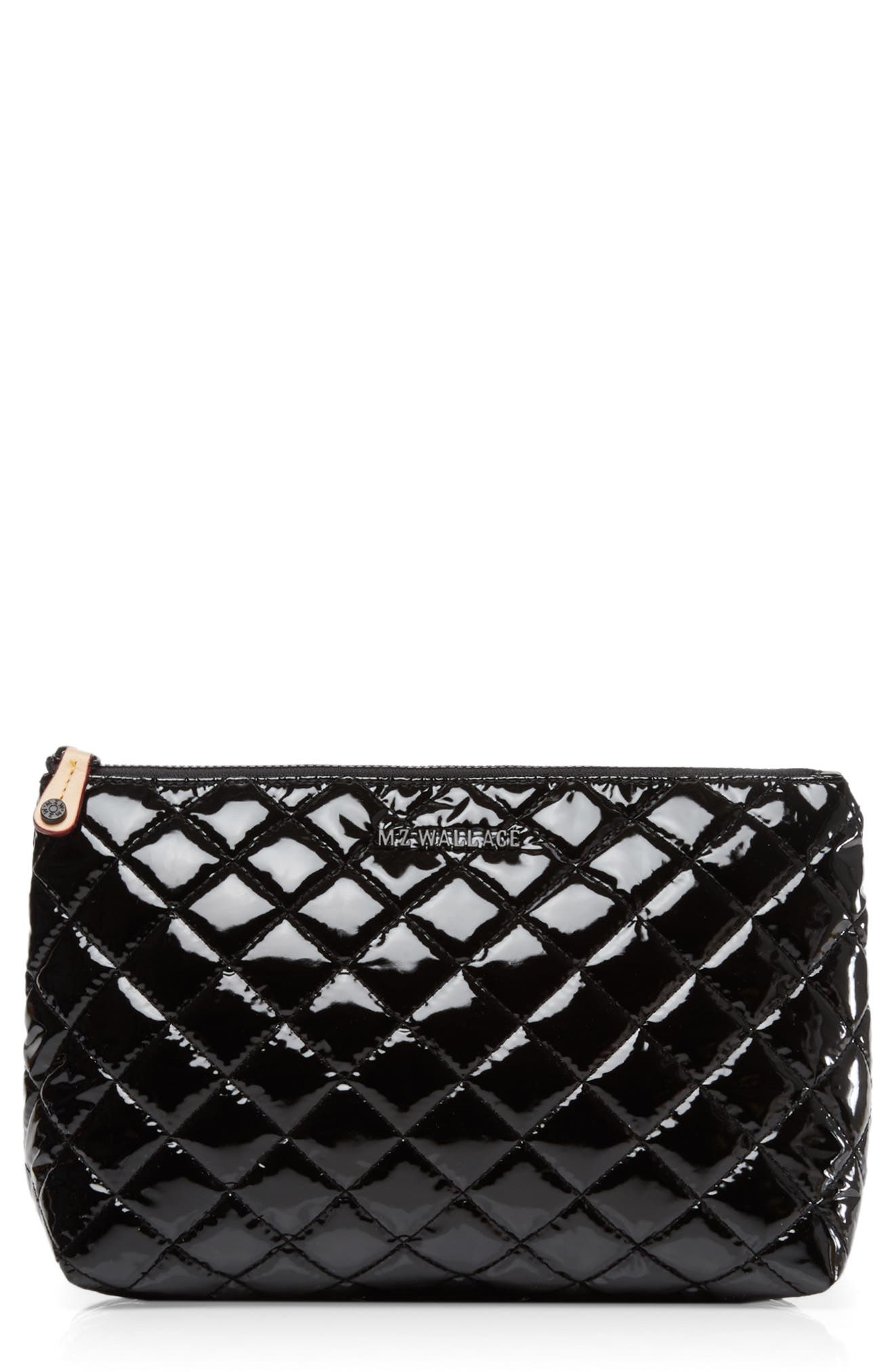 Zoey Quilted Nylon Cosmetics Case in Black Lacquer