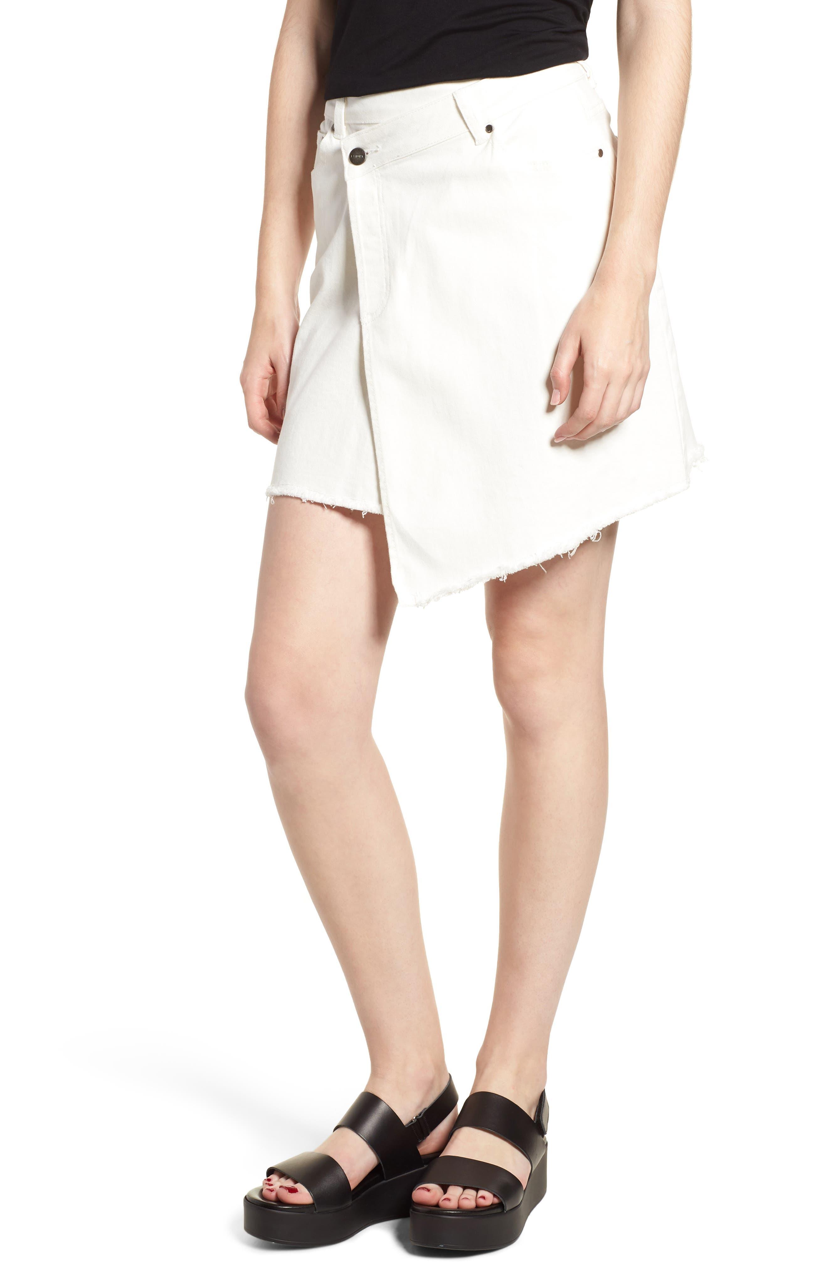 Asymmetrical Denim Skirt,                         Main,                         color, 100