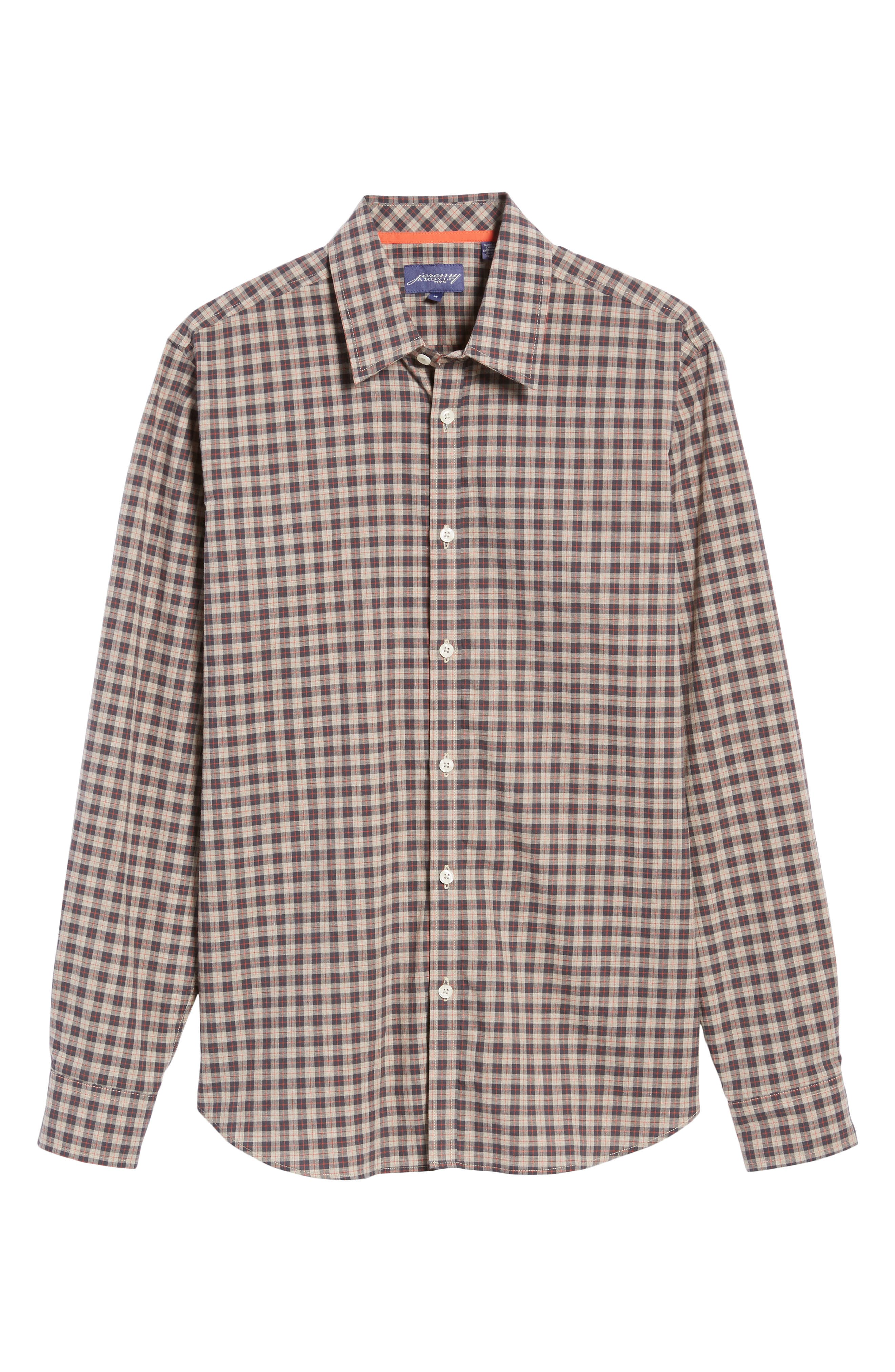 Comfort Fit Plaid Sport Shirt,                             Alternate thumbnail 6, color,                             214