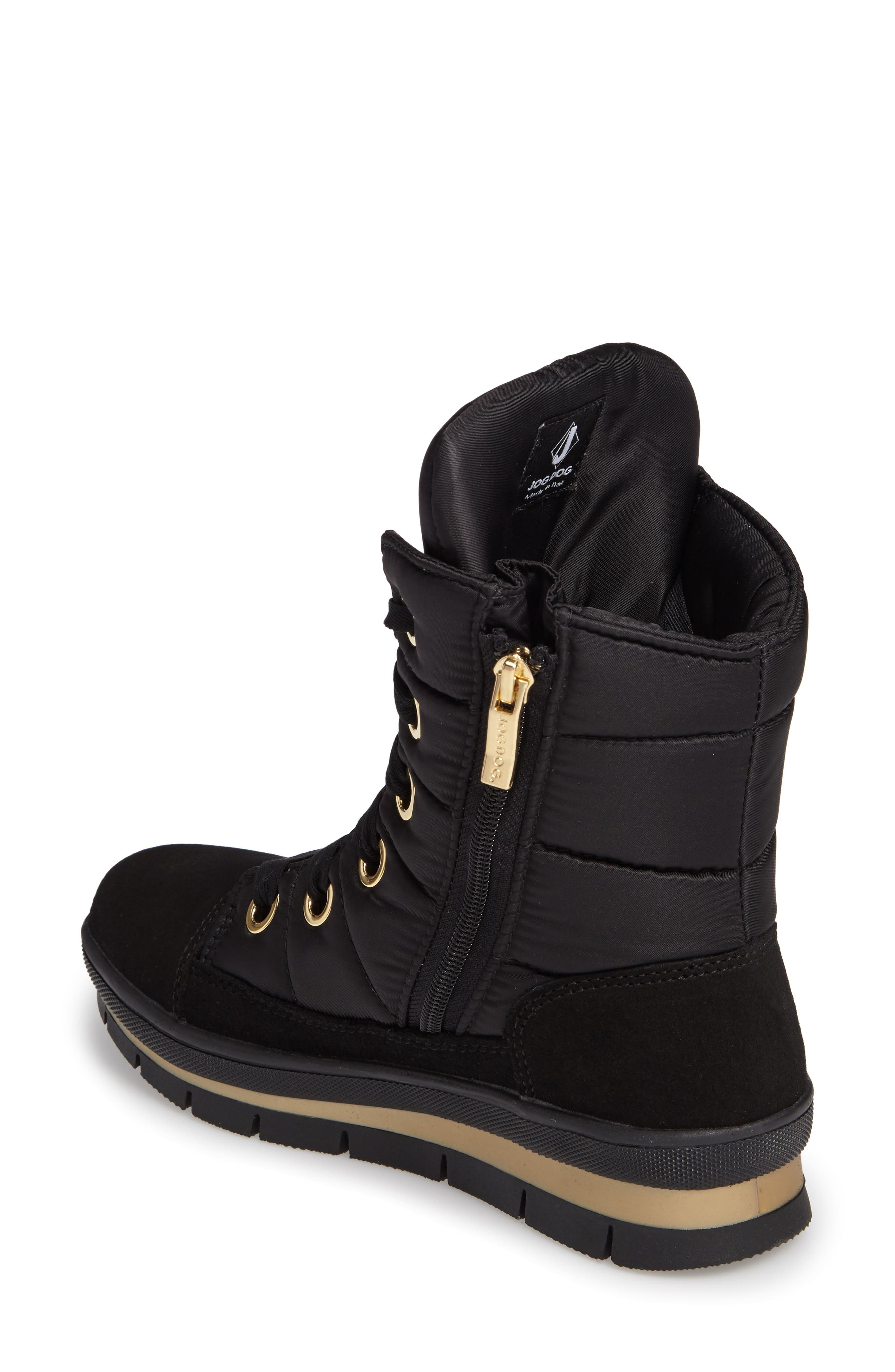 Verbier Waterproof Boot,                             Alternate thumbnail 2, color,                             BLACK / GOLD SWAROVSKI